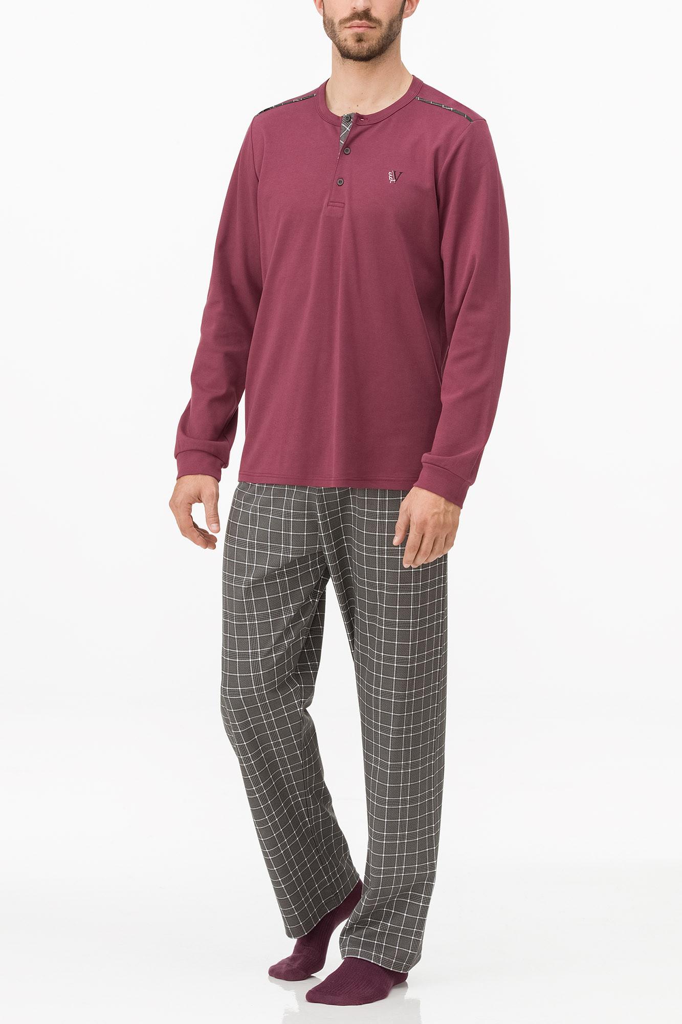 Vamp - Pohodlné pánske pyžamo 11683 - Vamp bordeaux imperial 4XL