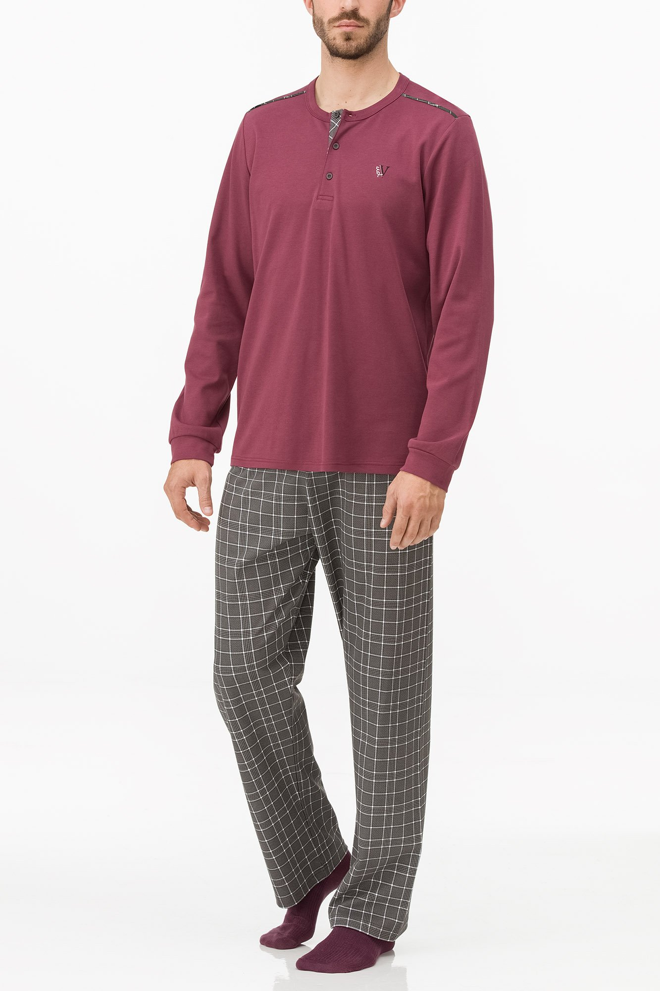 Vamp - Pohodlné pánske pyžamo 11683 - Vamp bordeaux imperial 5XL