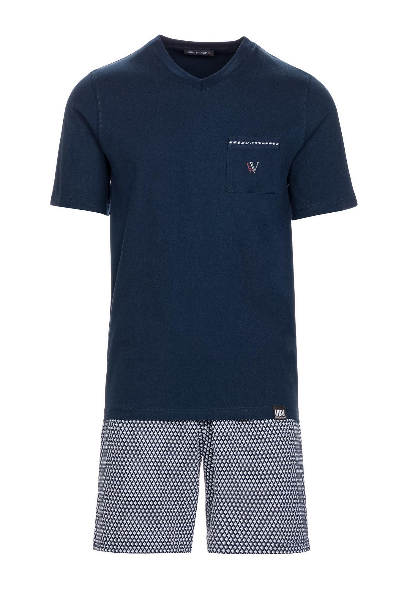 Vamp - Pohodlné pánske pyžamo 13638 - Vamp blue oxford 4XL
