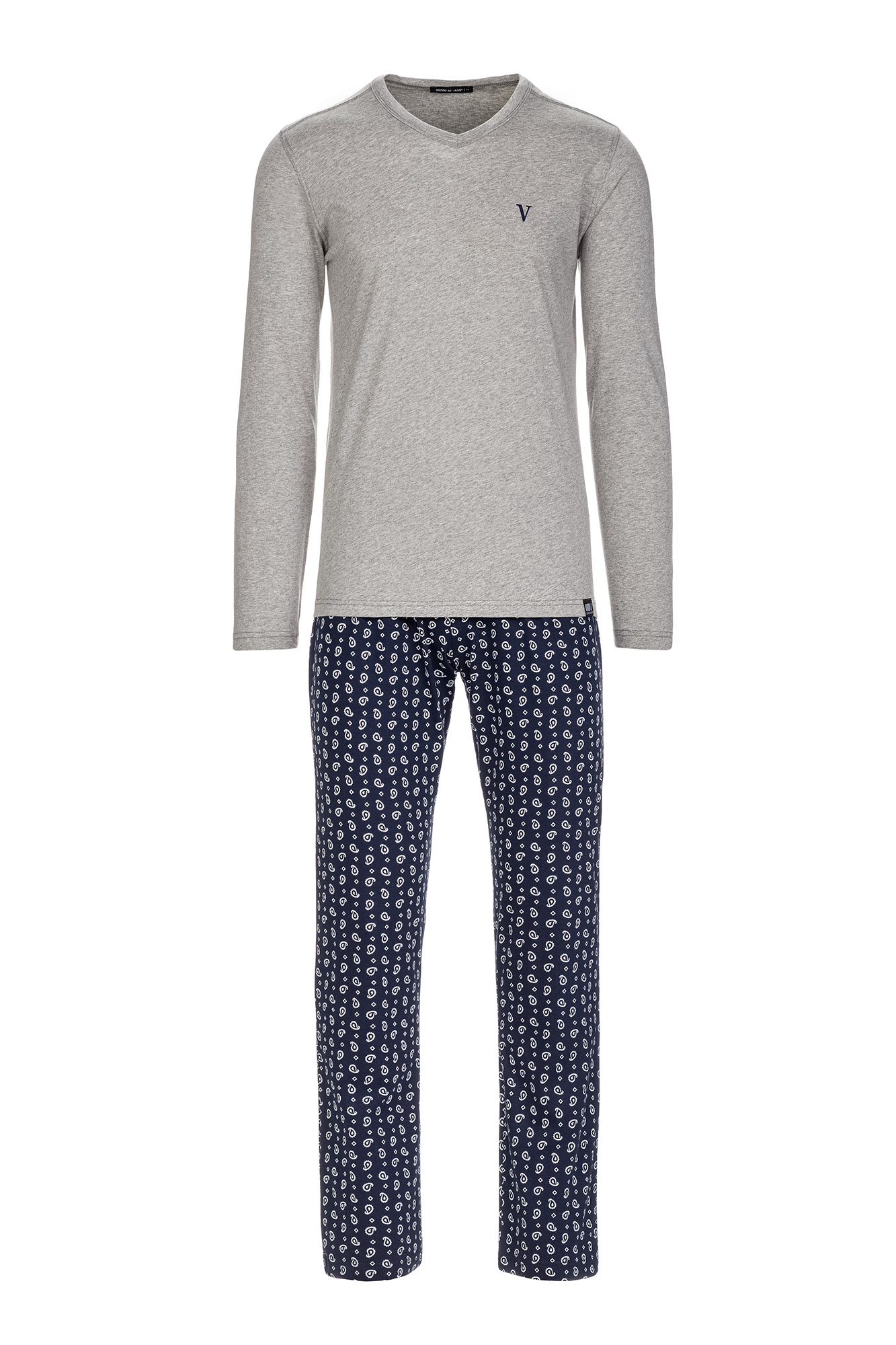 Vamp - Pohodlné pánske pyžamo 13655 - Vamp gray melange s