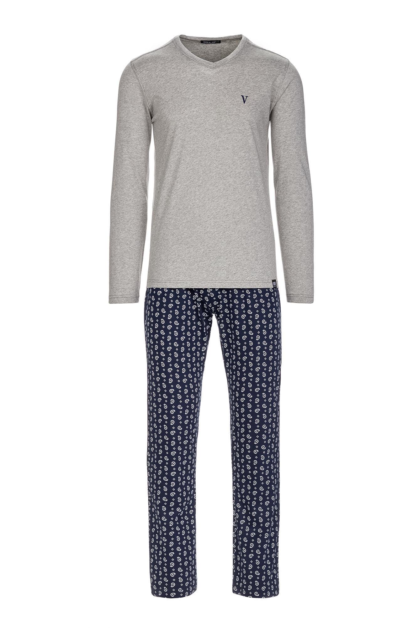 Vamp - Pohodlné pánske pyžamo 13655 - Vamp gray melange m
