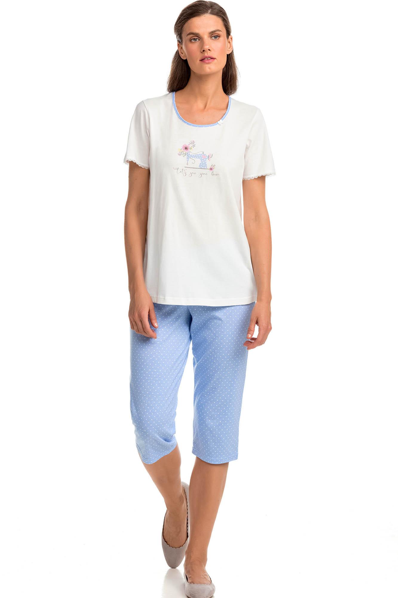 Vamp - Pohodlné dvojdielne dámske pyžamo 14383 - Vamp cream s