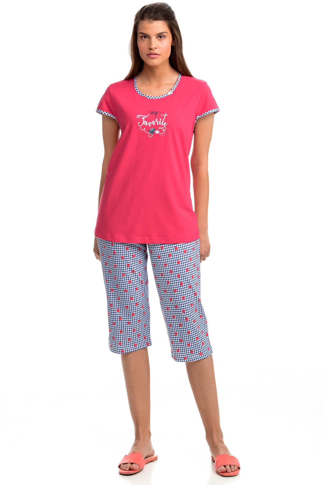Vamp - Pohodlné dvojdielne dámske pyžamo 14390 - Vamp poppy red l