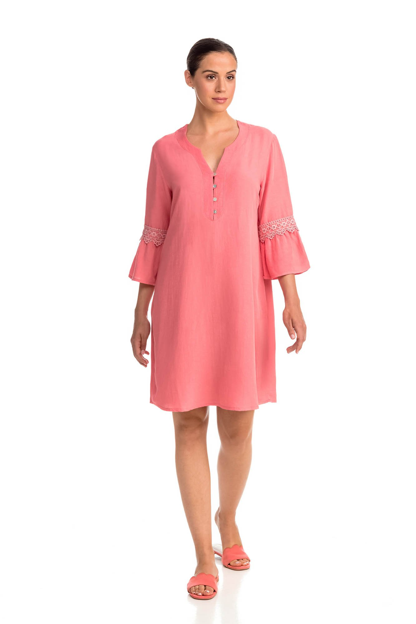 Vamp - Pohodlné jednofarebné dámske šaty 14444 - Vamp coral sugar l