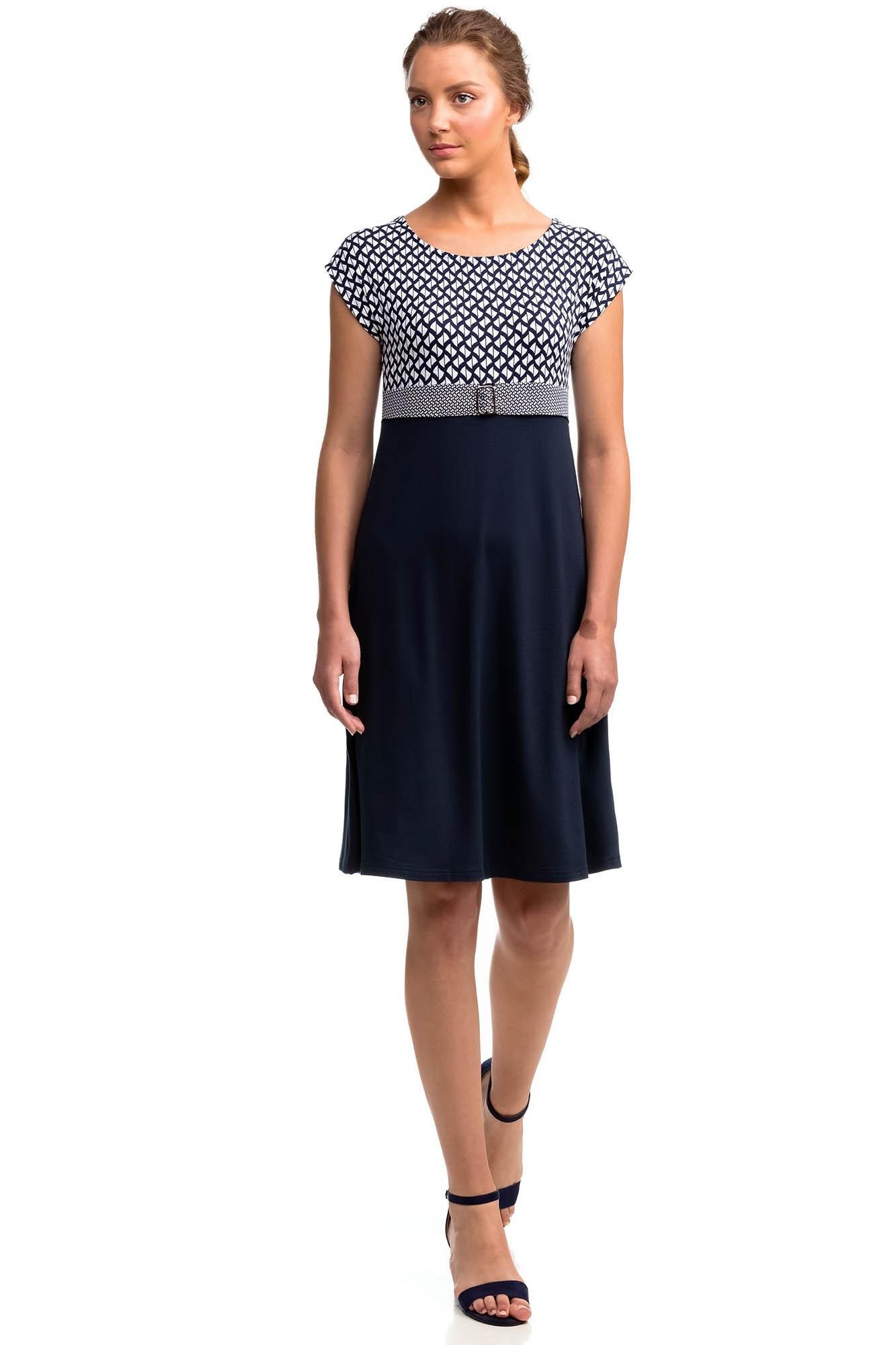 Vamp - Elegantní vzorované dámské šaty 14452 - Vamp blue s