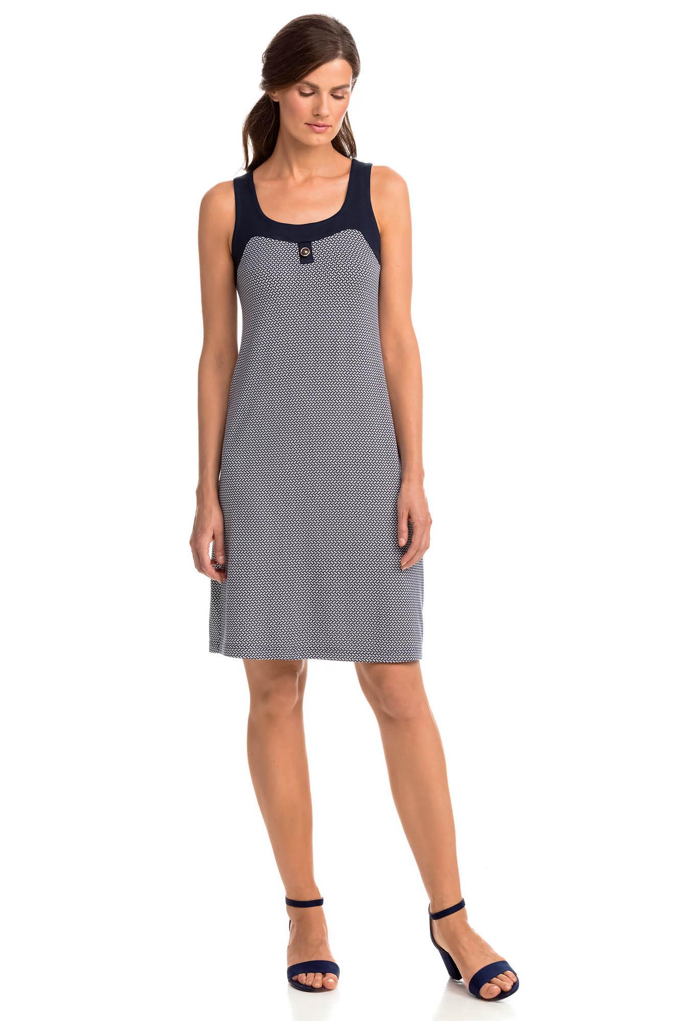 Vamp - Elegantní vzorované dámské šaty 14455 - Vamp blue s