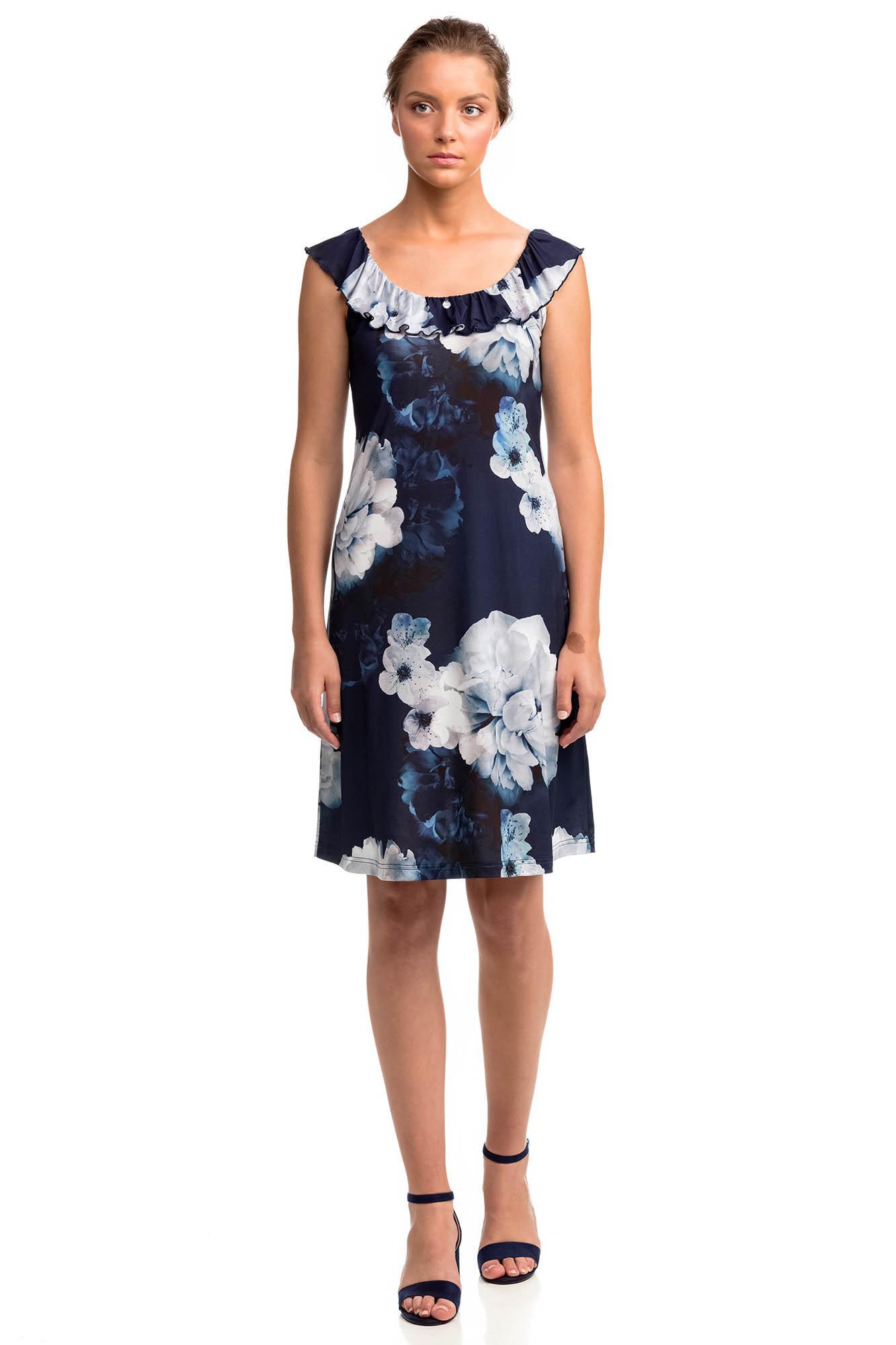 Vamp - Elegantné dámske kvetované šaty 14464 - Vamp blue marine m