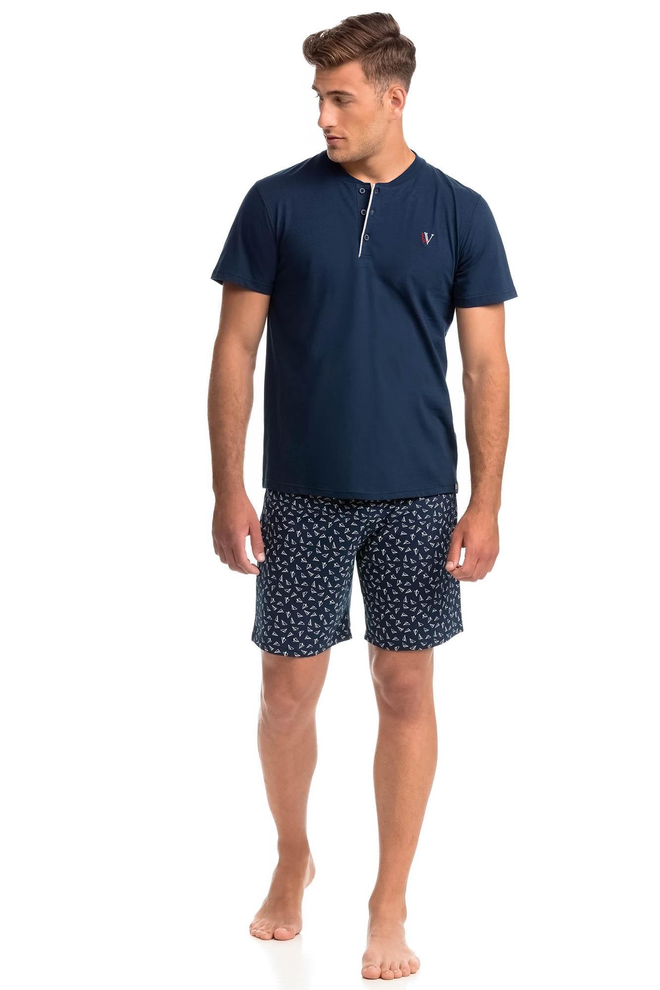 Vamp - Pohodlné dvojdielne pánske pyžamo 14746 - Vamp blue oxford xxl