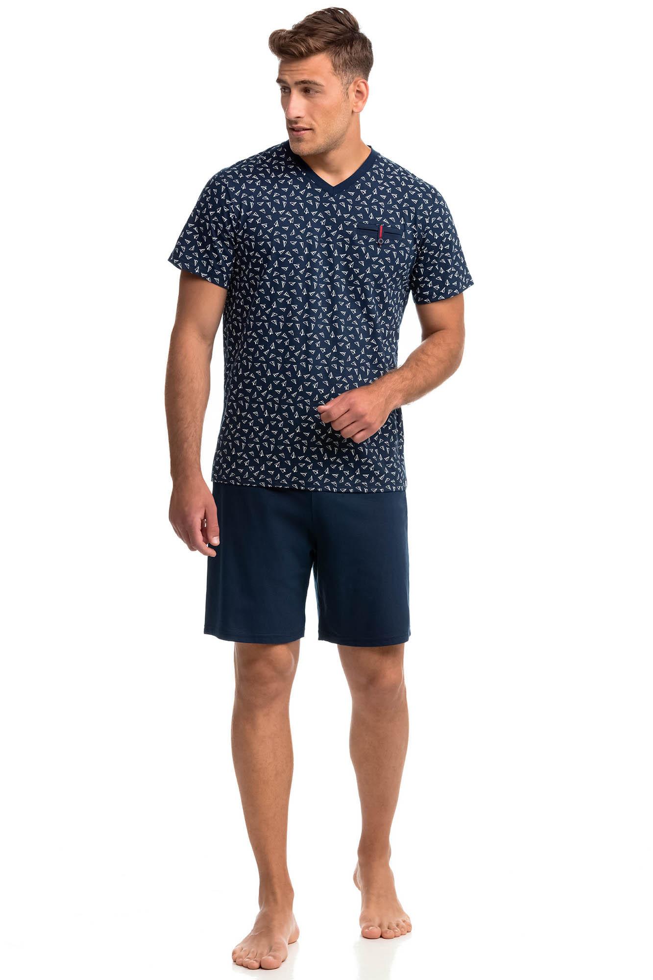 Vamp - Pohodlné dvojdielne pánske pyžamo 14747 - Vamp blue oxford xxl