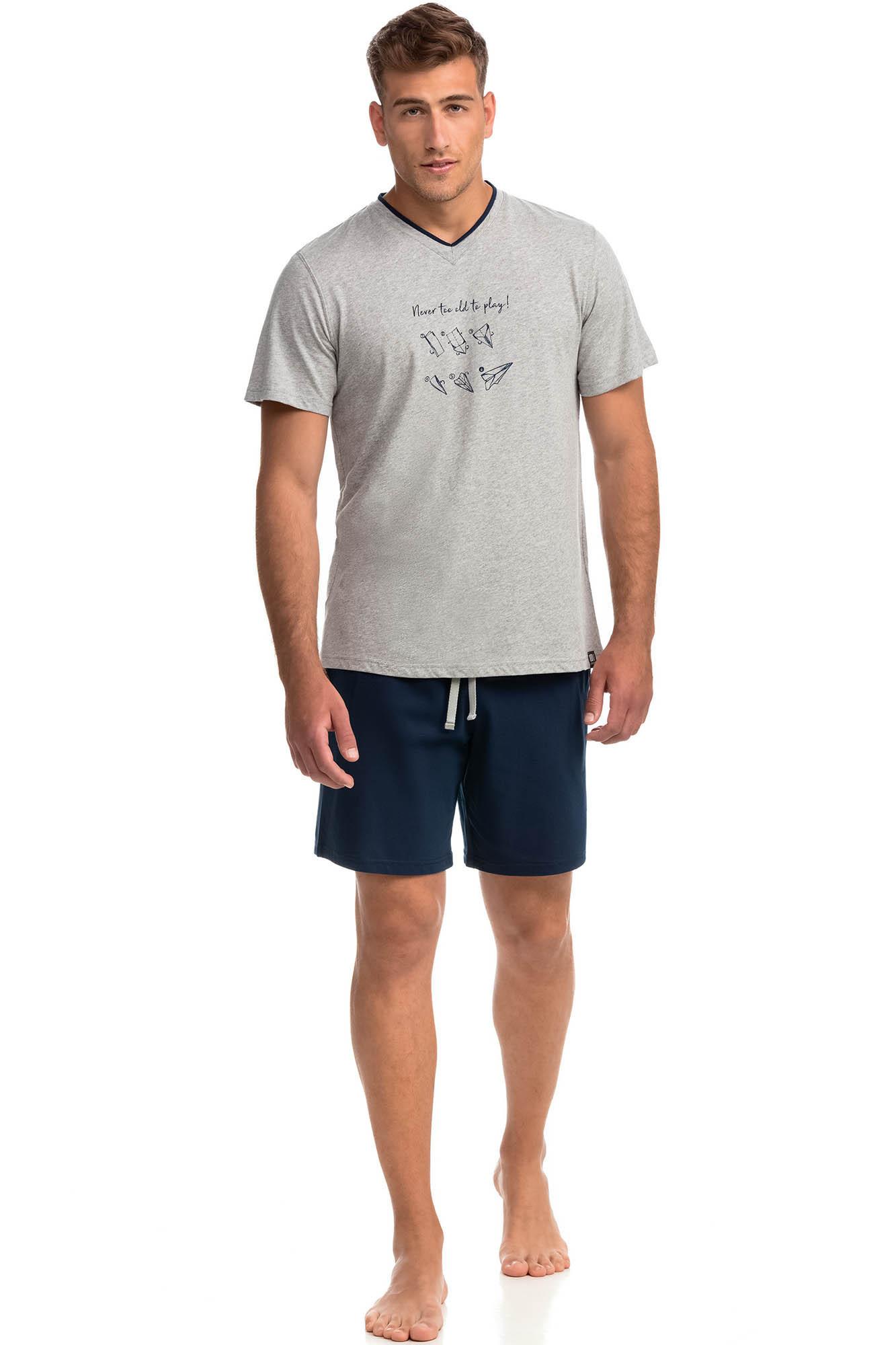 Vamp - Pohodlné dvojdielne pánske pyžamo 14750 - Vamp gray melange xl