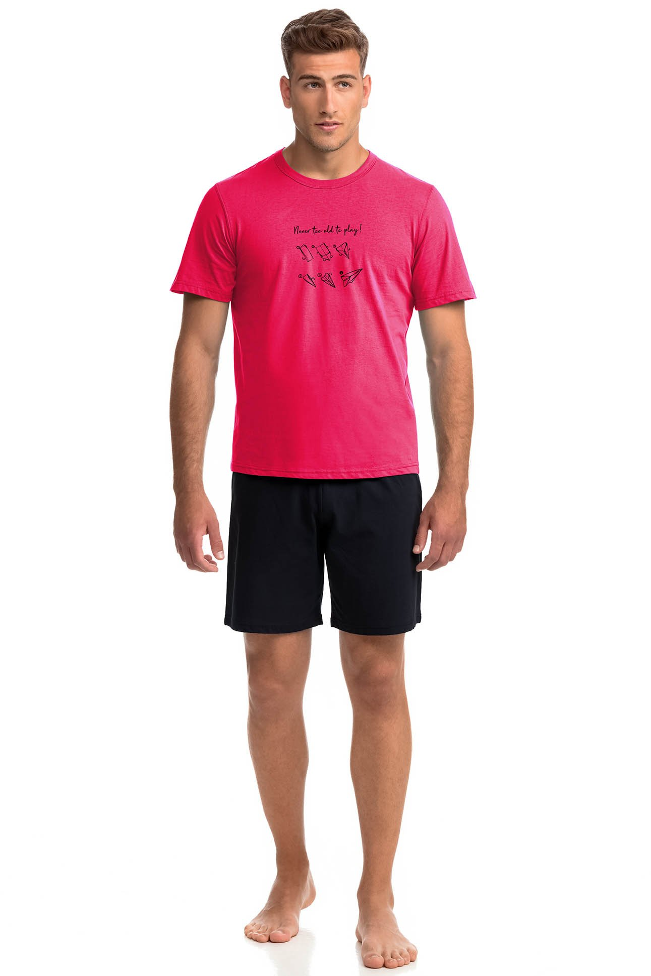 Vamp - Pohodlné dvoudílné pánské pyžamo 14935 - Vamp poppy red xl