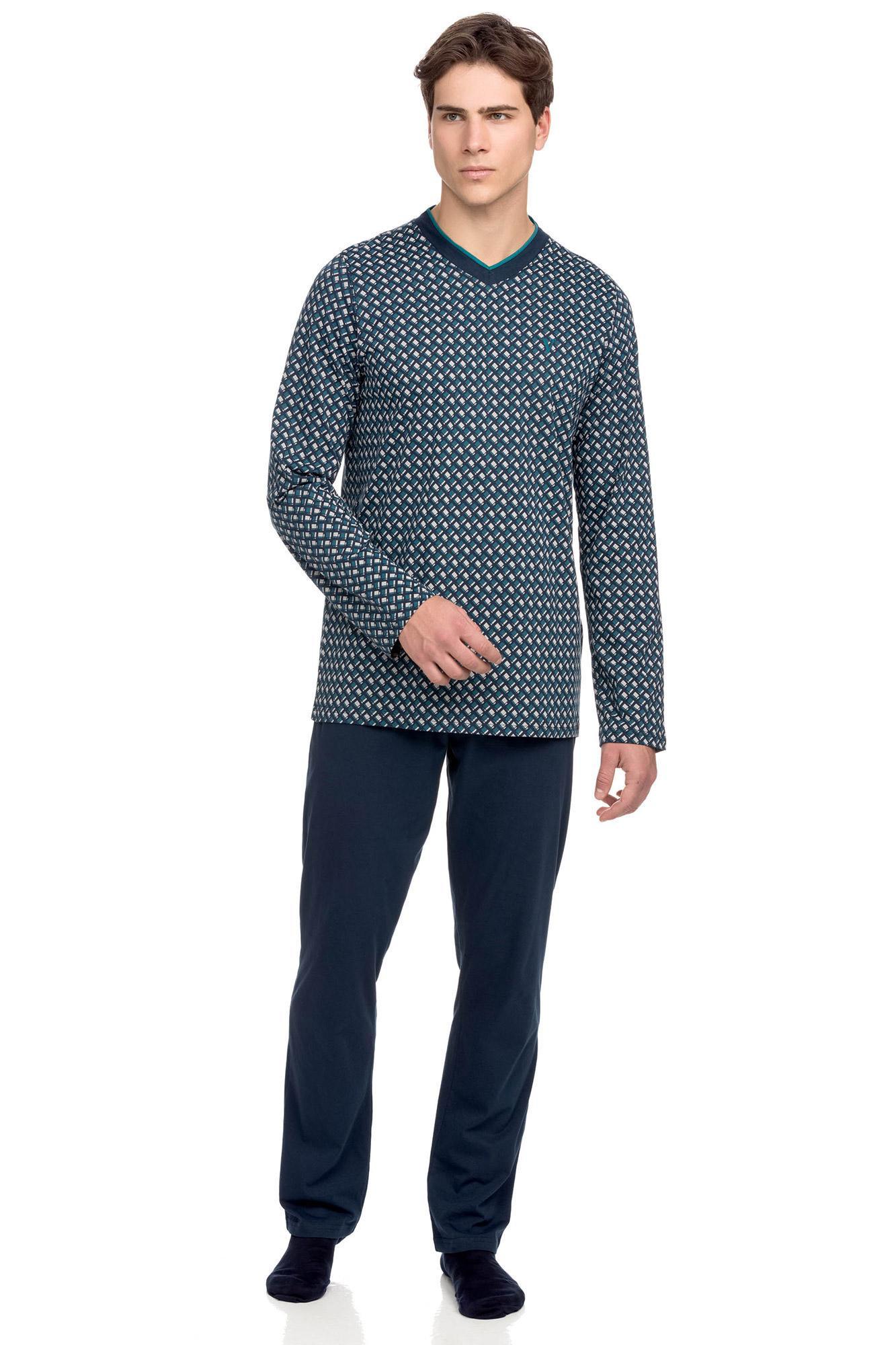 Vamp - Bavlnené pánske pyžamo 15632 - Vamp blue oxford xl