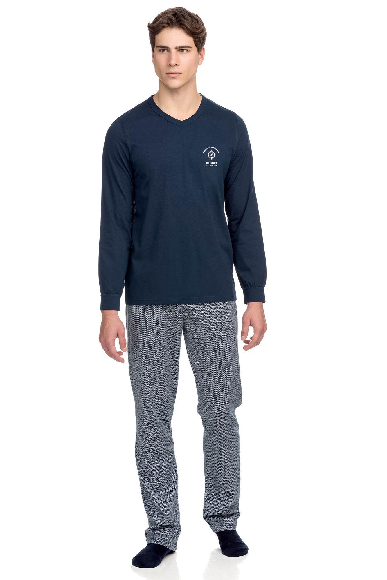 Vamp - Bavlnené pánske pyžamo 15664 - Vamp blue oxford m