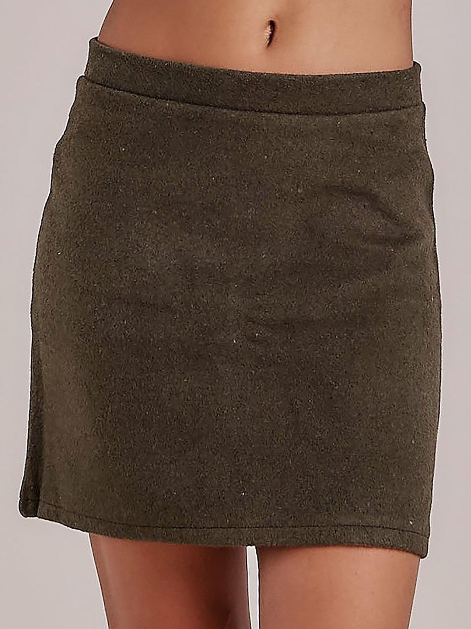 Pletená khaki mini sukne S