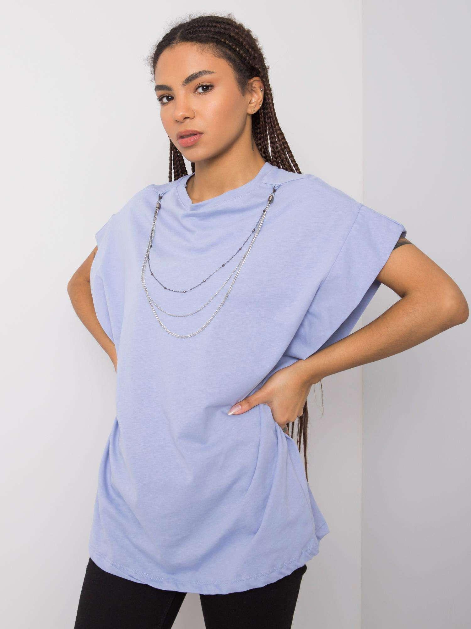 RUE PARIS Modré tričko s náhrdelníkom S
