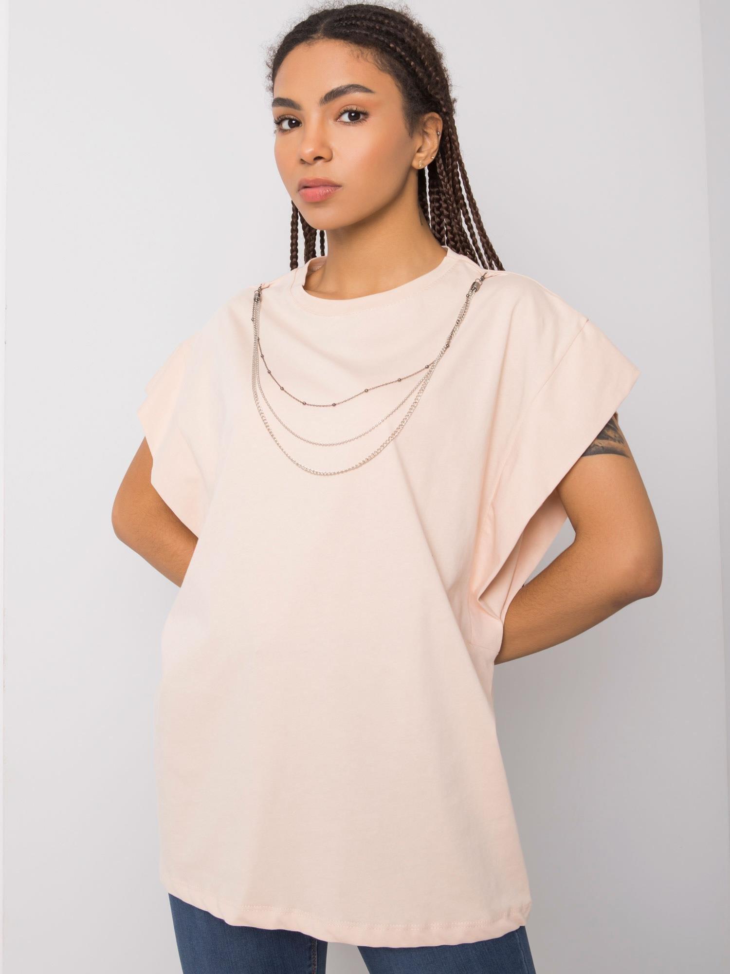 Tričko RUE PARIS Peach s náhrdelníkom S