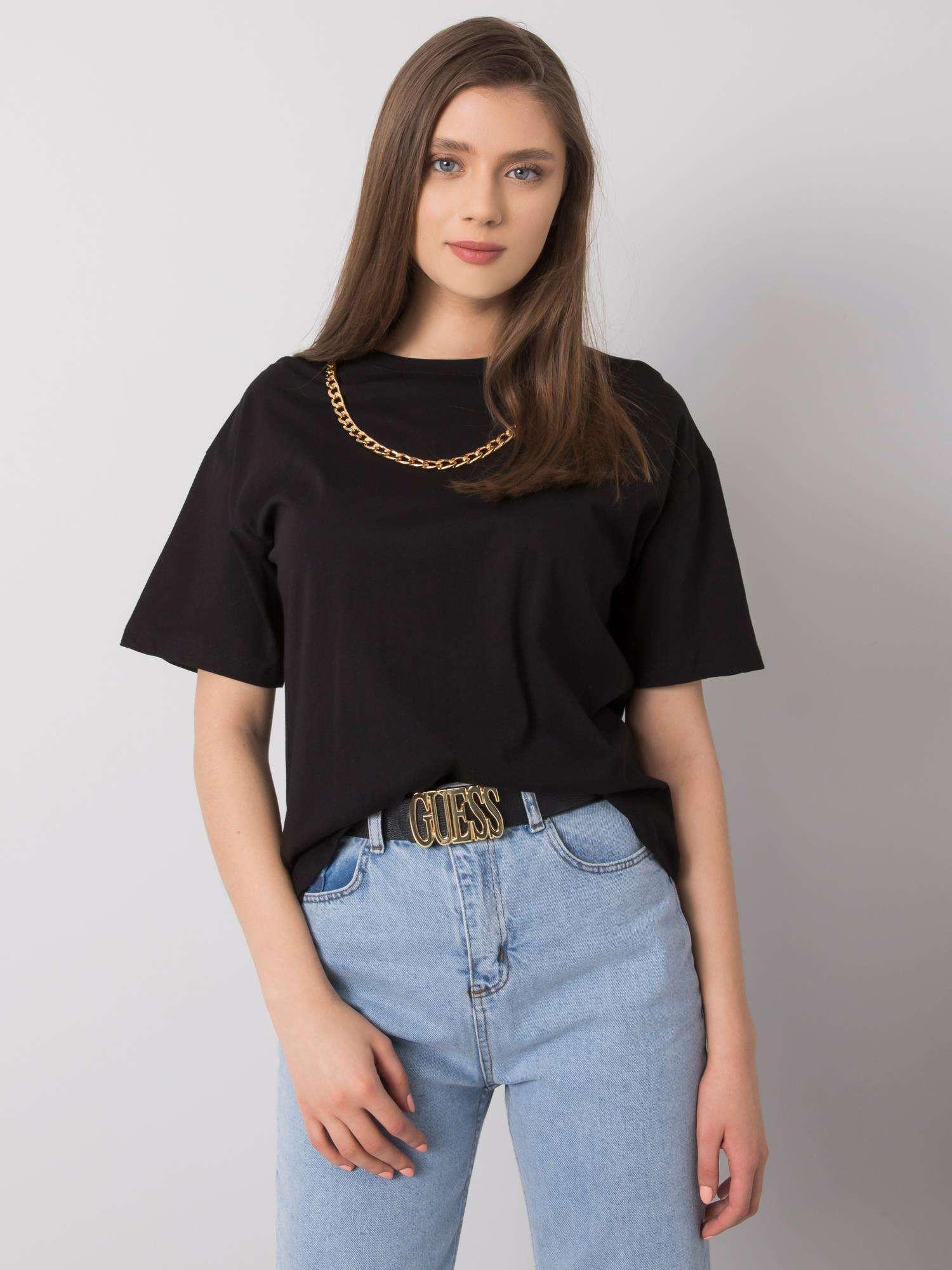 RUE PARIS Čierne tričko s náhrdelníkom S