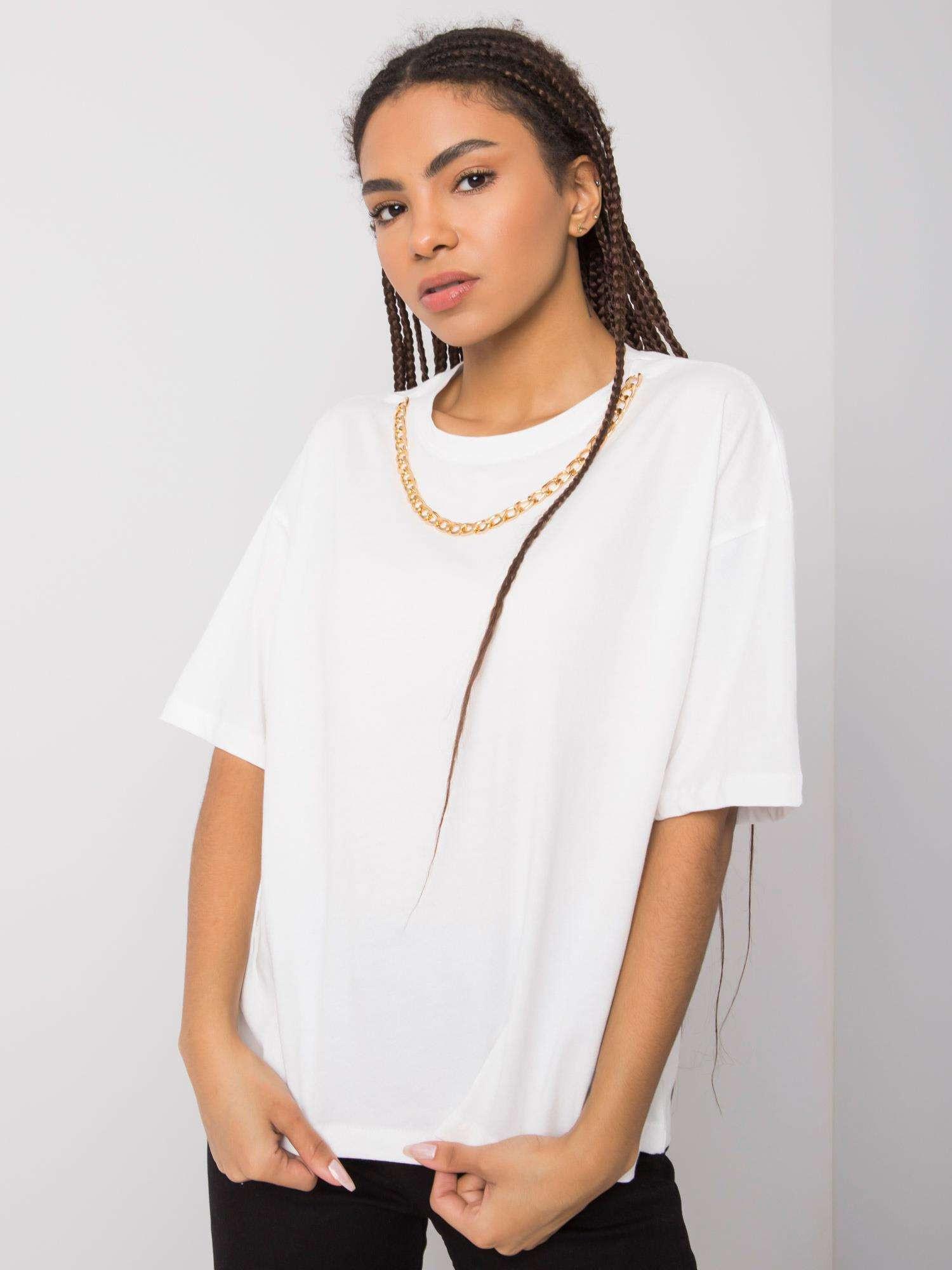 RUE PARIS Biele tričko s náhrdelníkom S