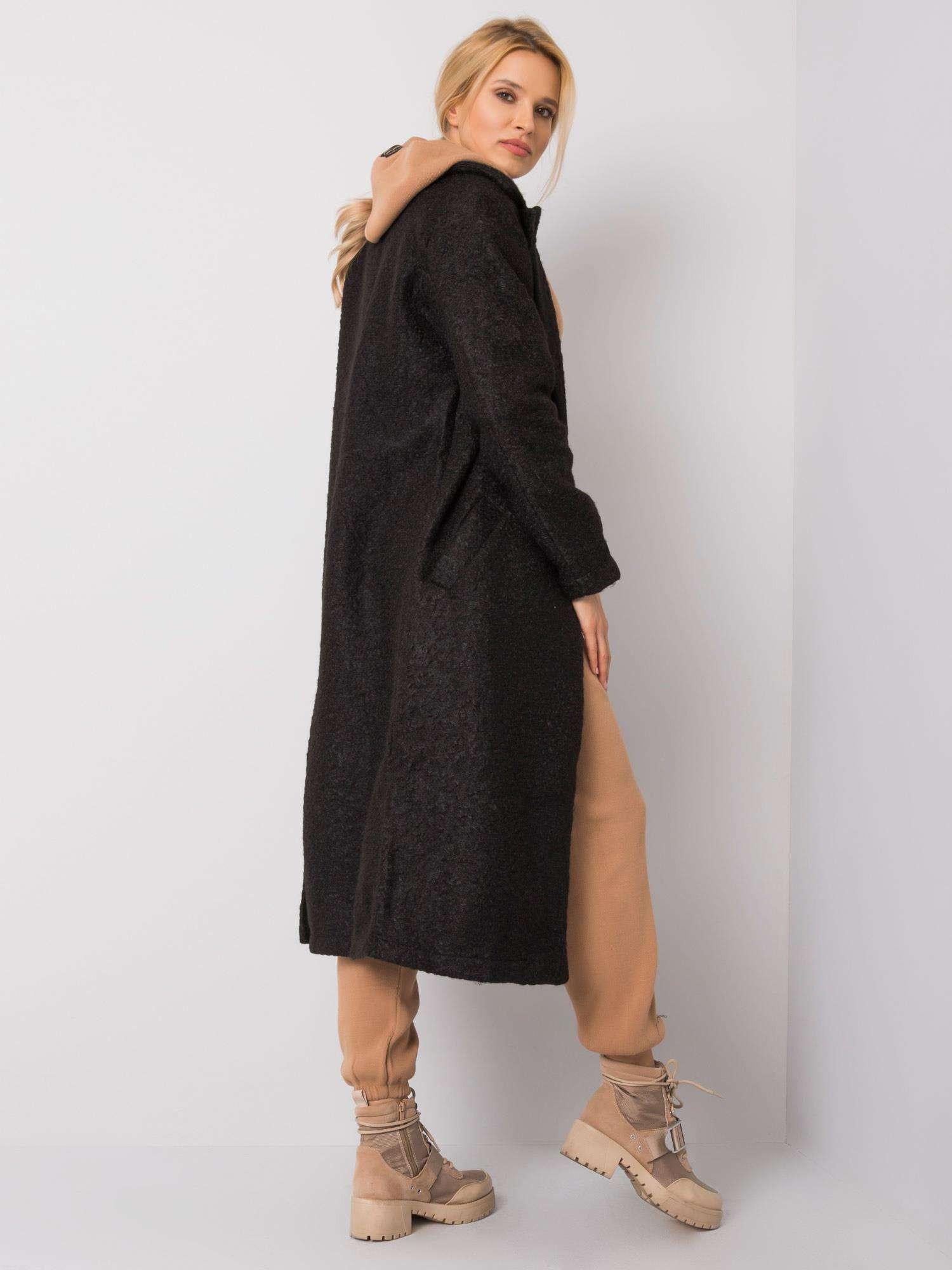 RUE PARIS Čierny kabát Boucle S