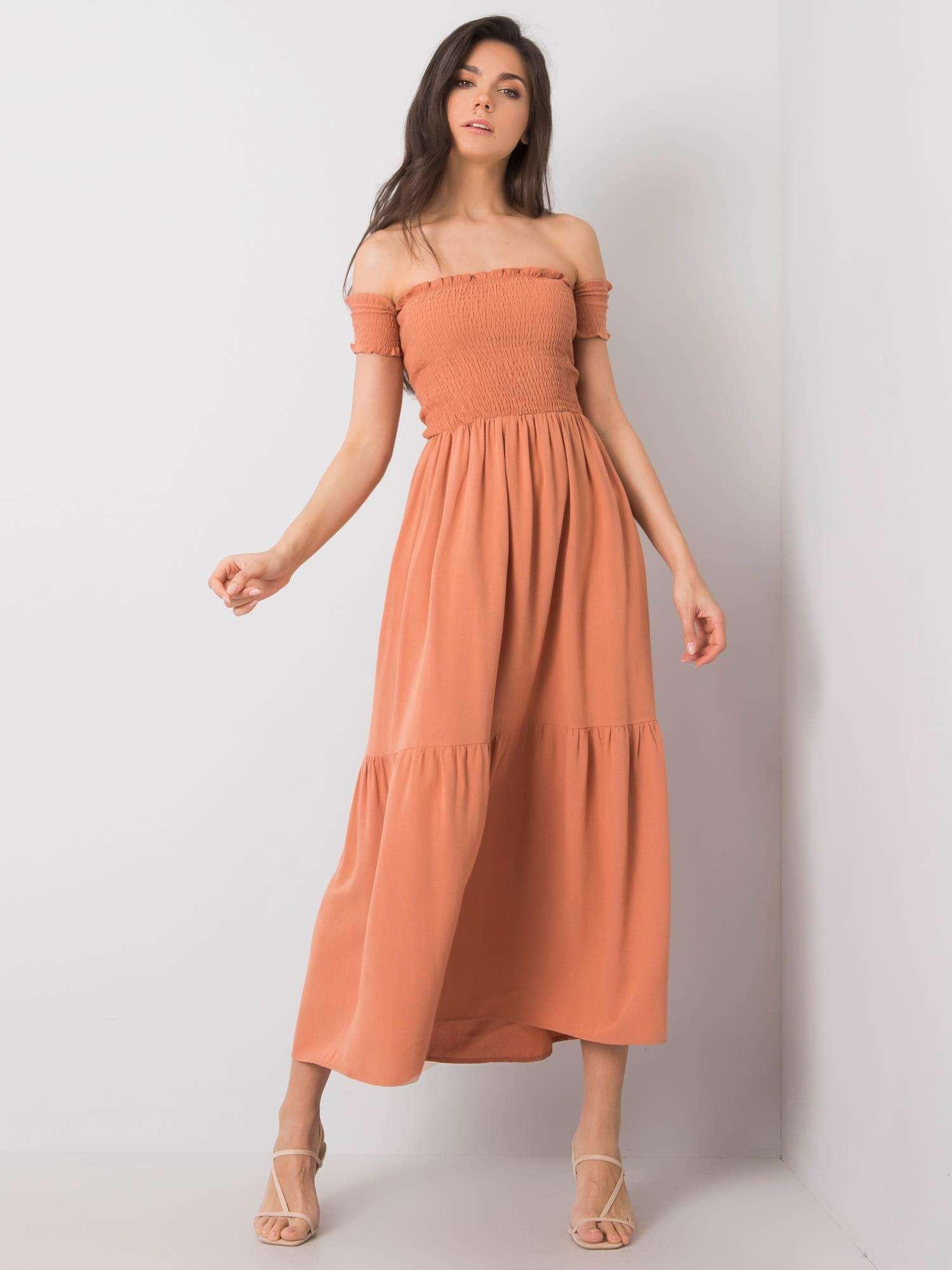 RUE PARIS Oranžové dlhé šaty s volánikmi L
