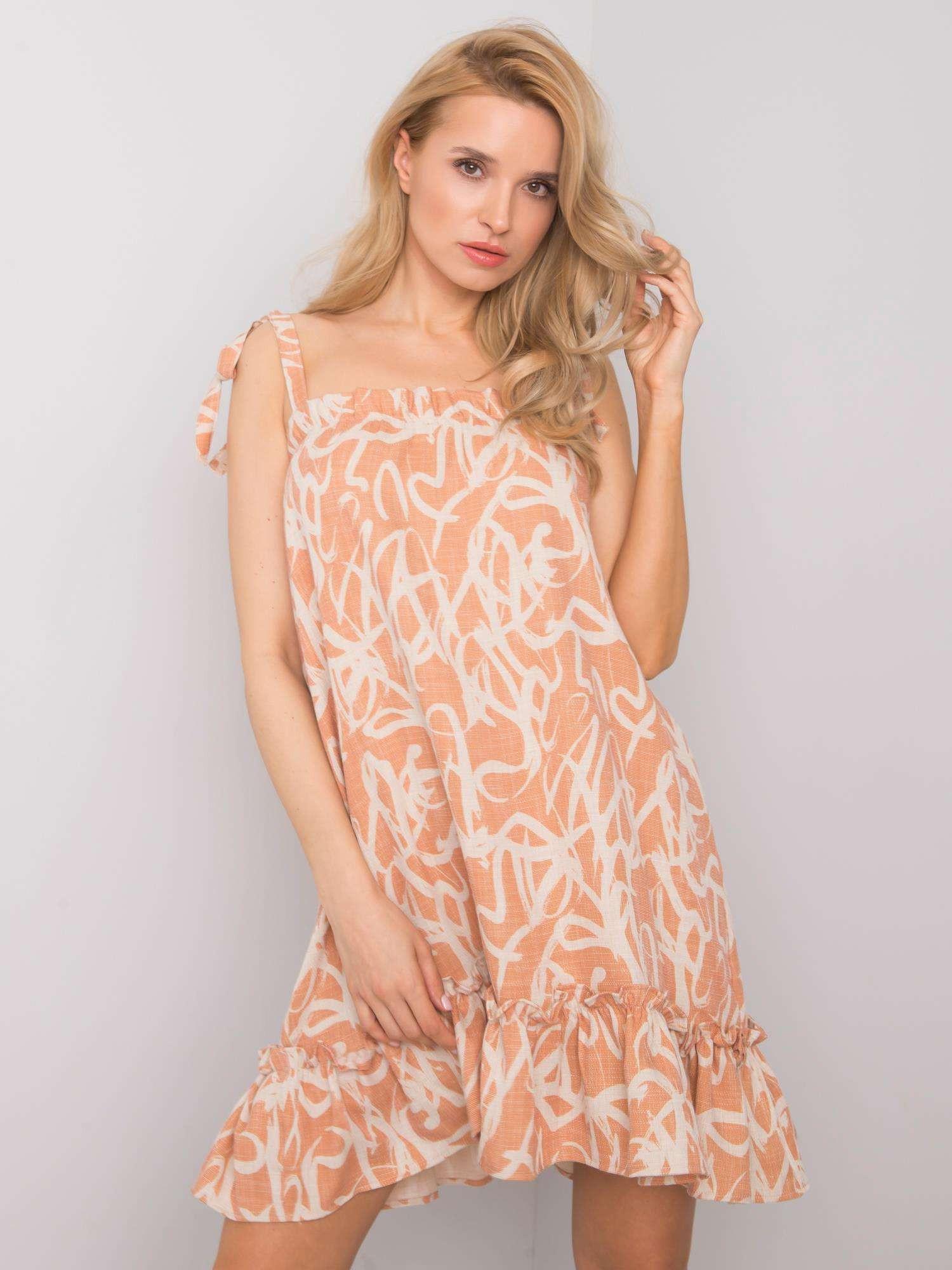 RUE PARIS Oranžové vzorované šaty L
