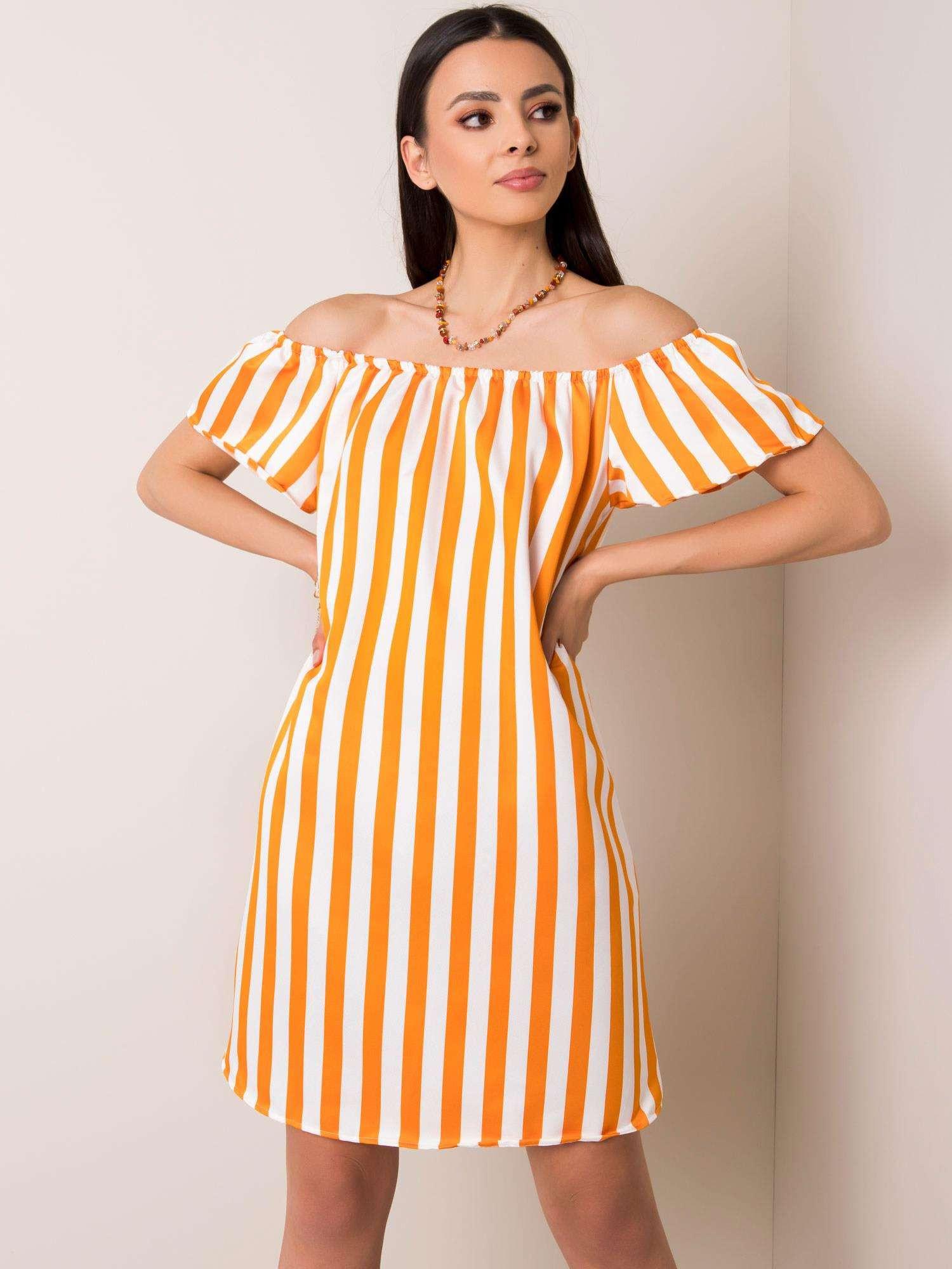 Biele a oranžové španielskej šaty L