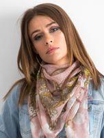 Vzorovaný pudrově růžový šátek ONE SIZE