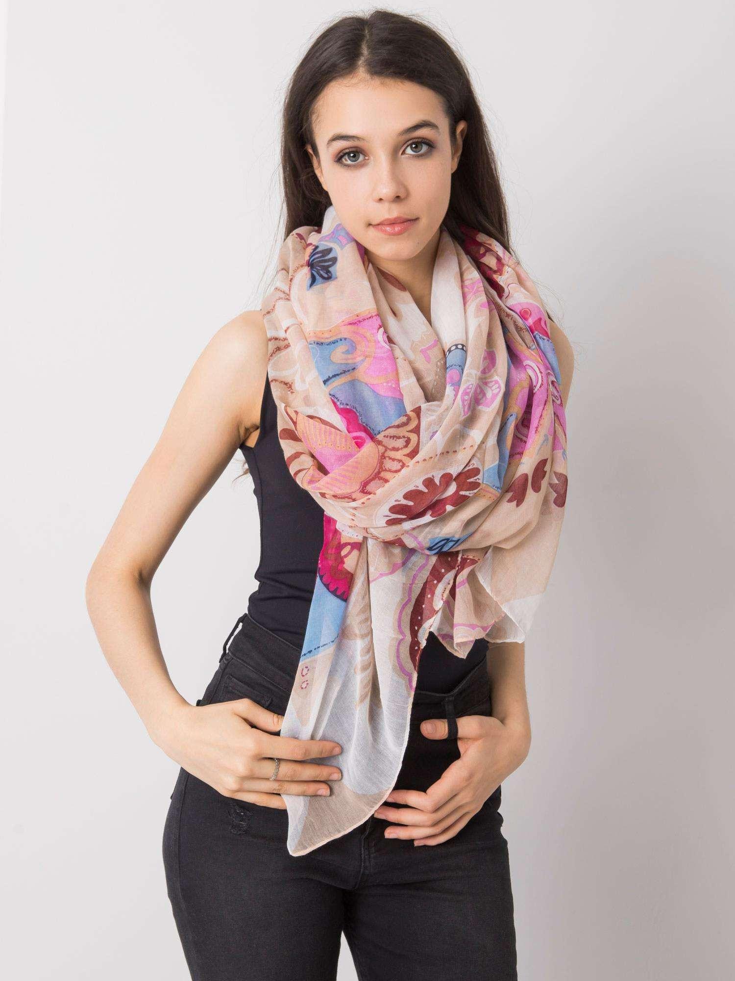 Dámský béžový a růžový šátek s barevnými potisky jedna velikost