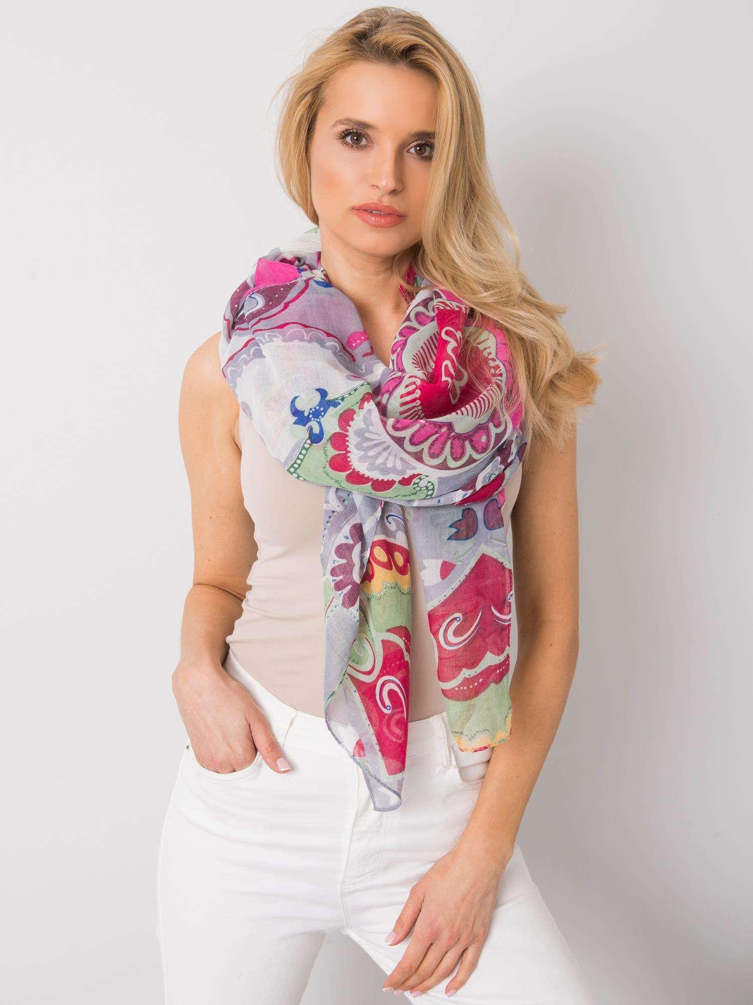 Dámský šedý a fuchsiový šátek s barevnými potisky jedna velikost
