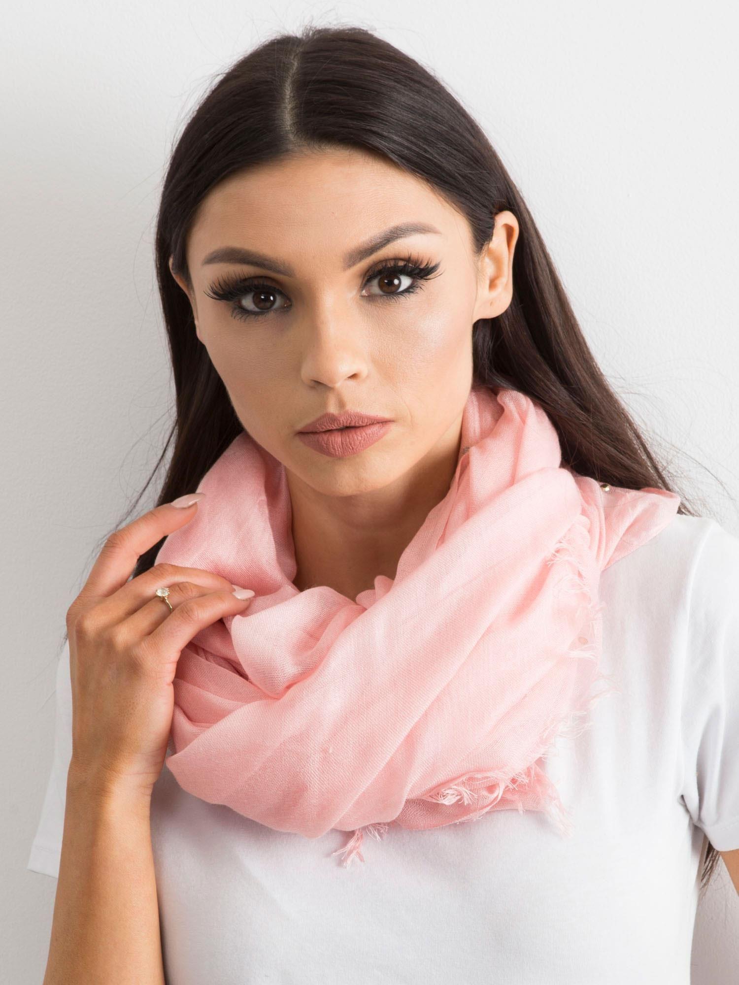 Světle růžový šátek s kamínky ONE SIZE