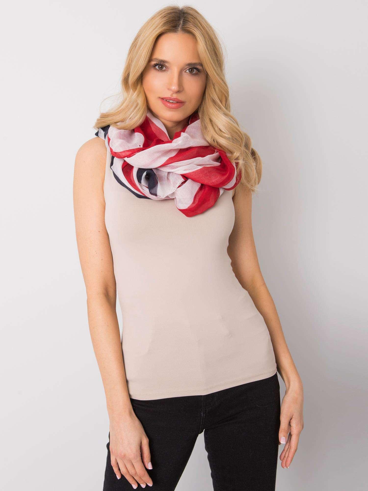 Dámský bílý a červený šátek jedna velikost