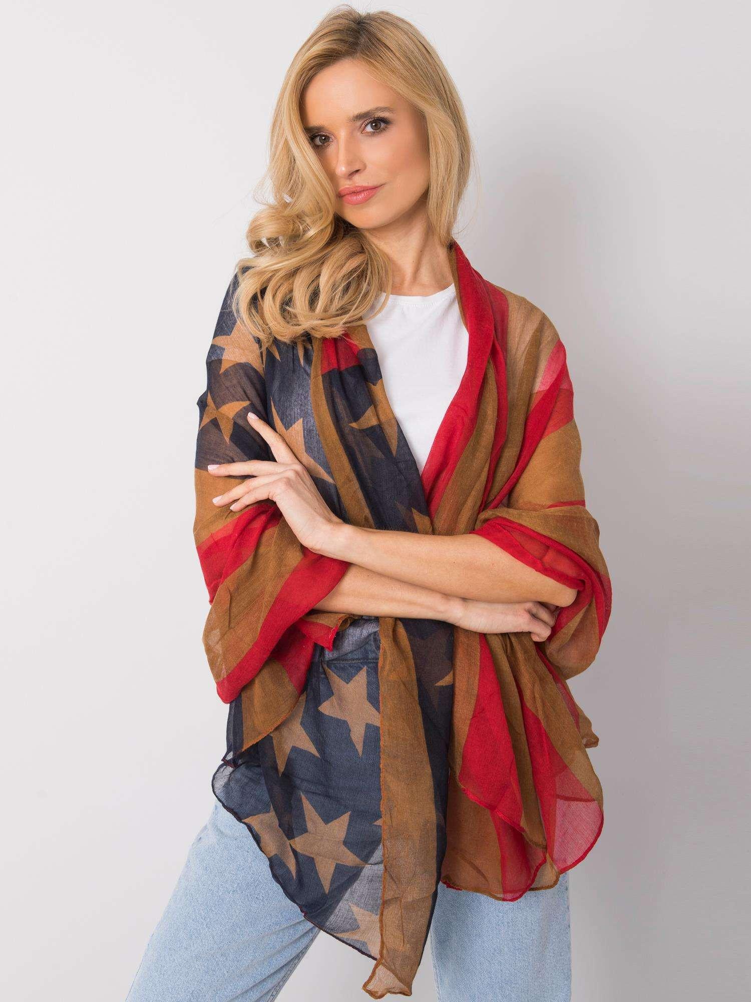 Červený a hnědý dámský šátek jedna velikost