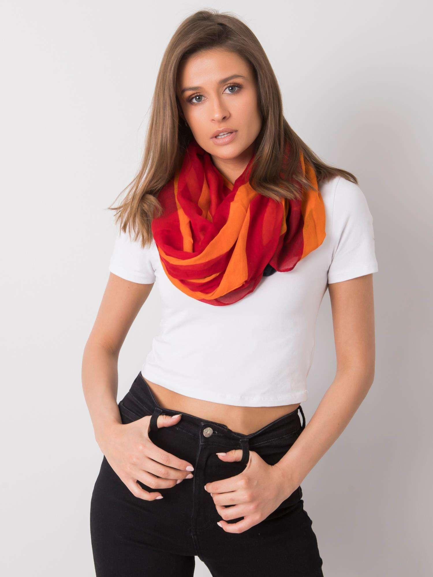 Dámský červený a oranžový šátek jedna velikost