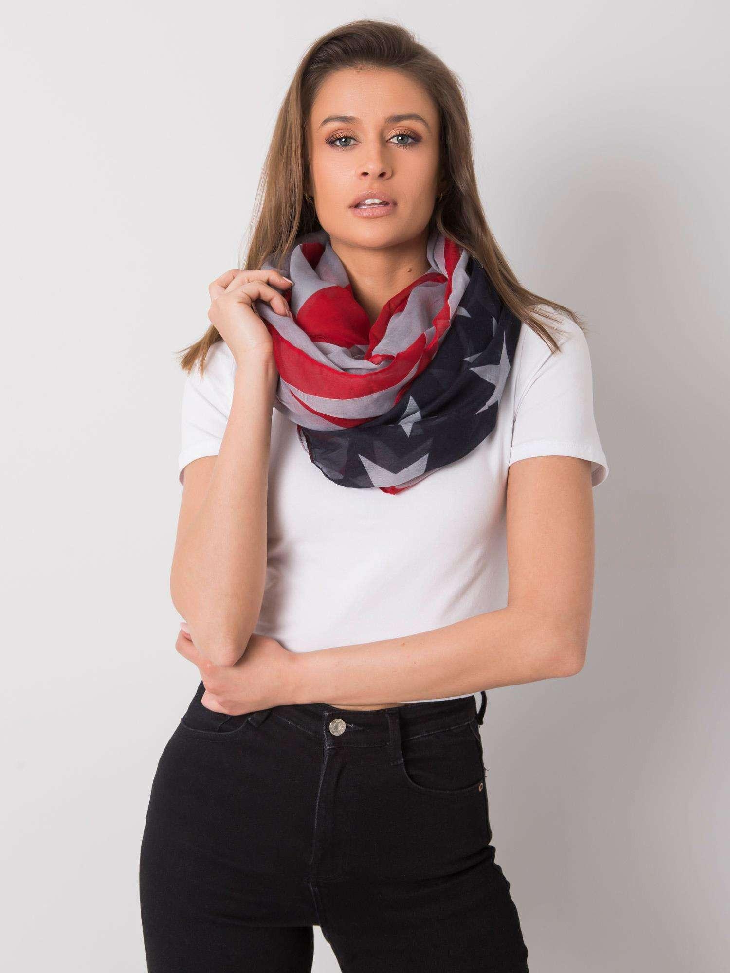 Červený a šedý dámský šátek jedna velikost
