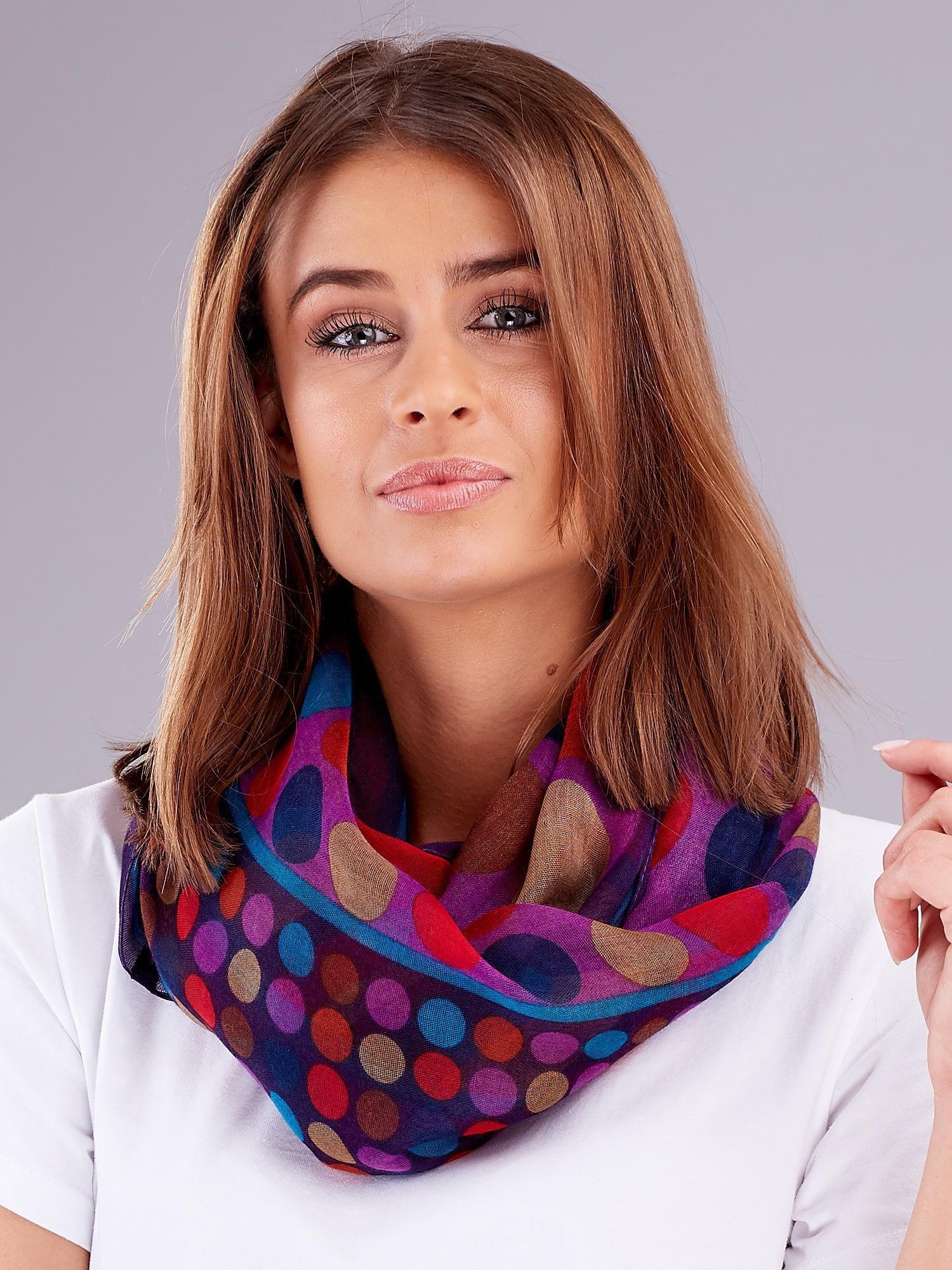 Fialový dámský šátek se vzorem barevného hrášku ONE SIZE