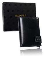 Badura Čierna malá pánska kožená peňaženka one size