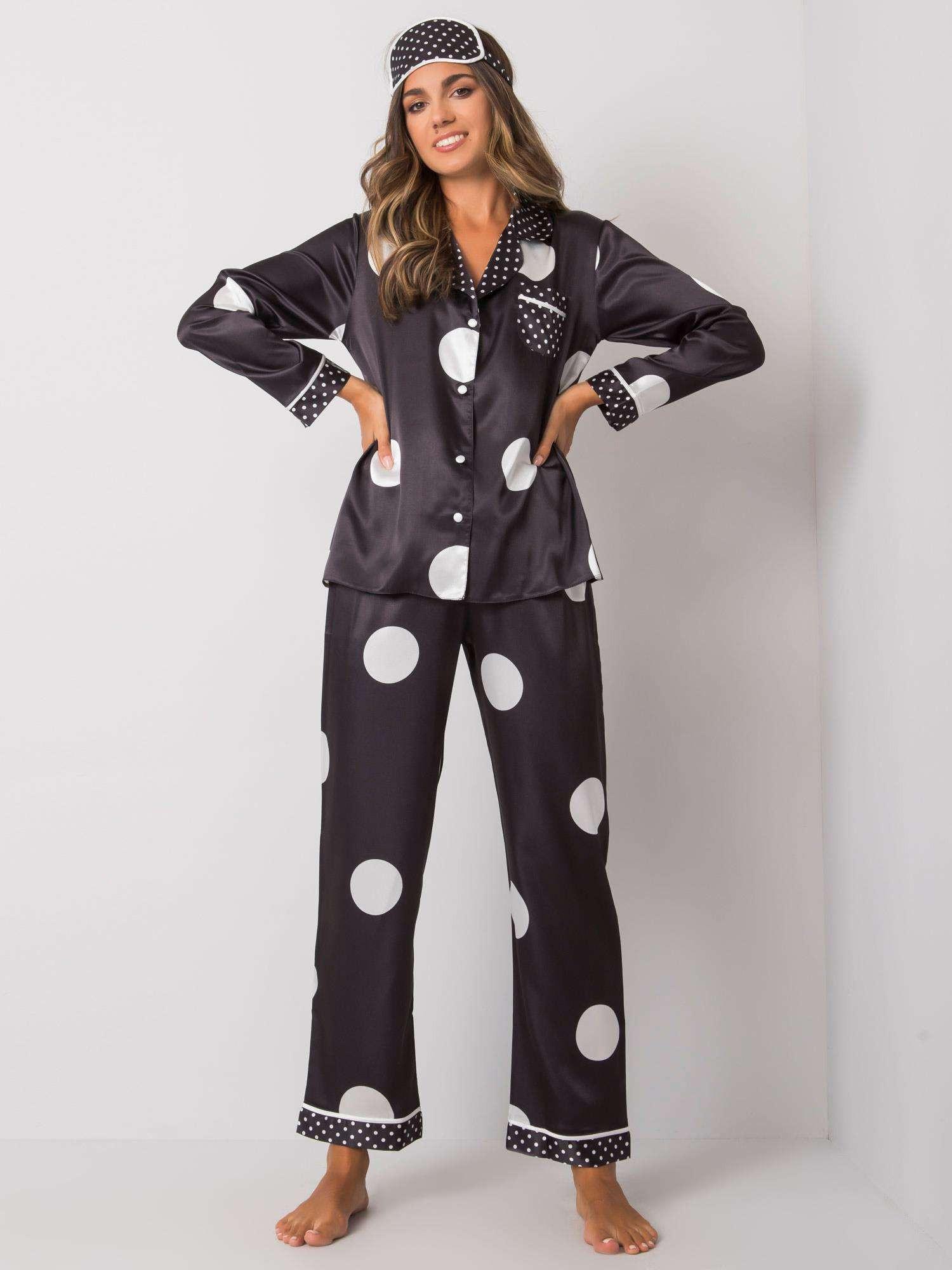 Dámske čierne pyžamo s kockami S