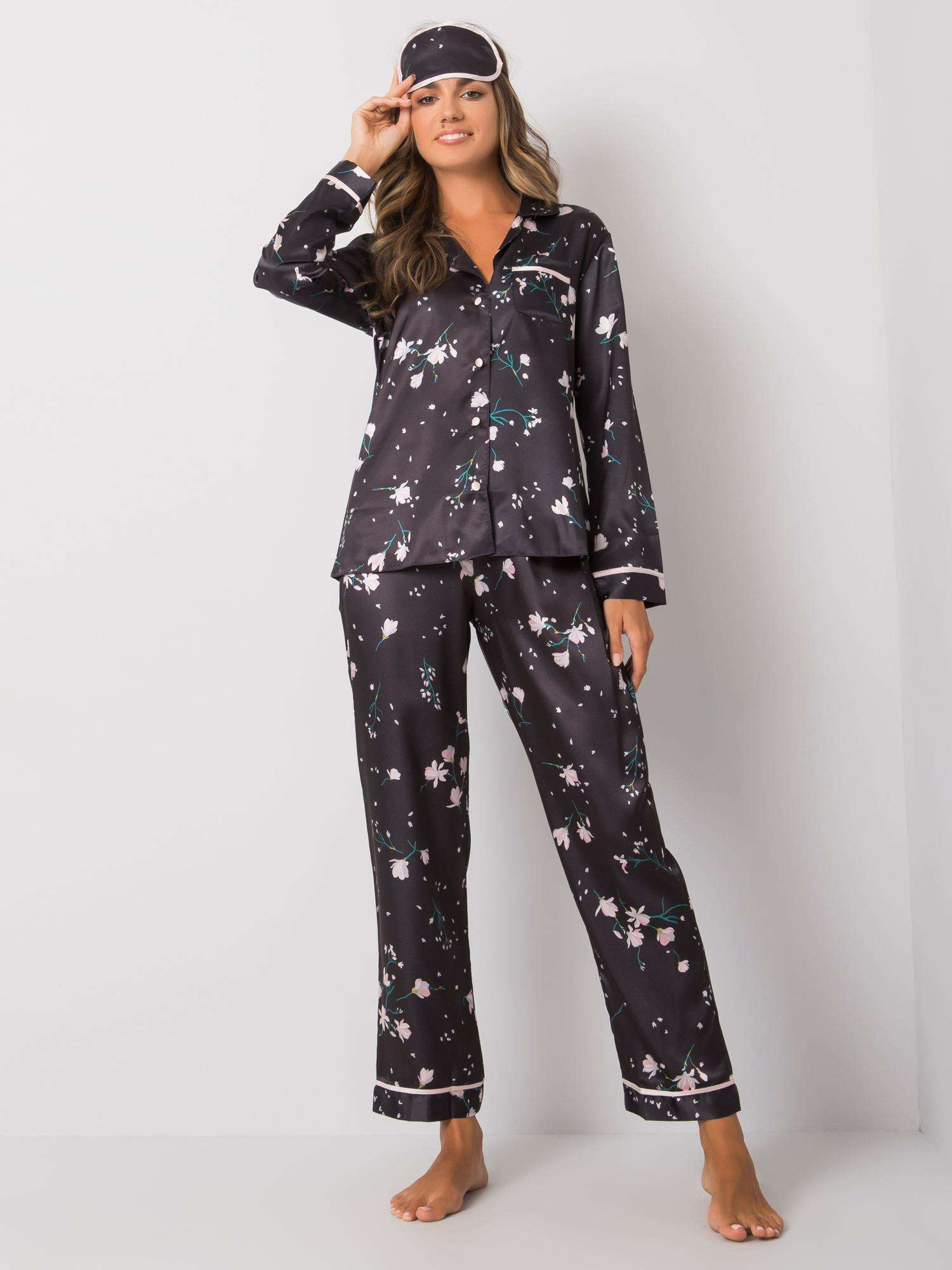 Čierne dámske dvojdielne pyžamo S