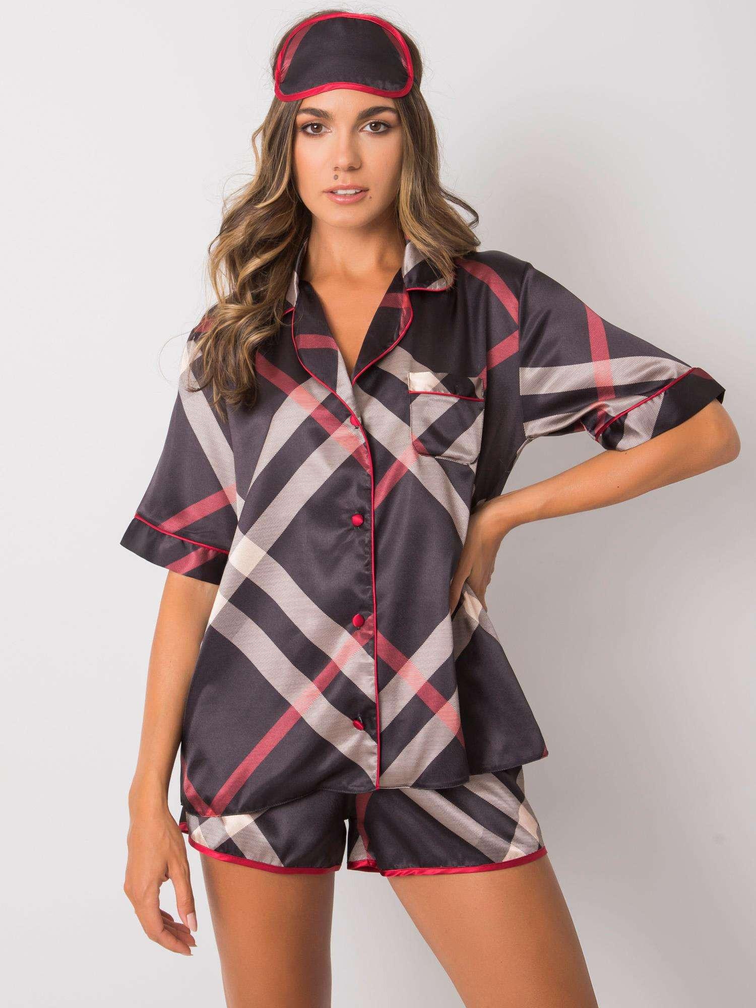 Čierne kockované dámske pyžamo S