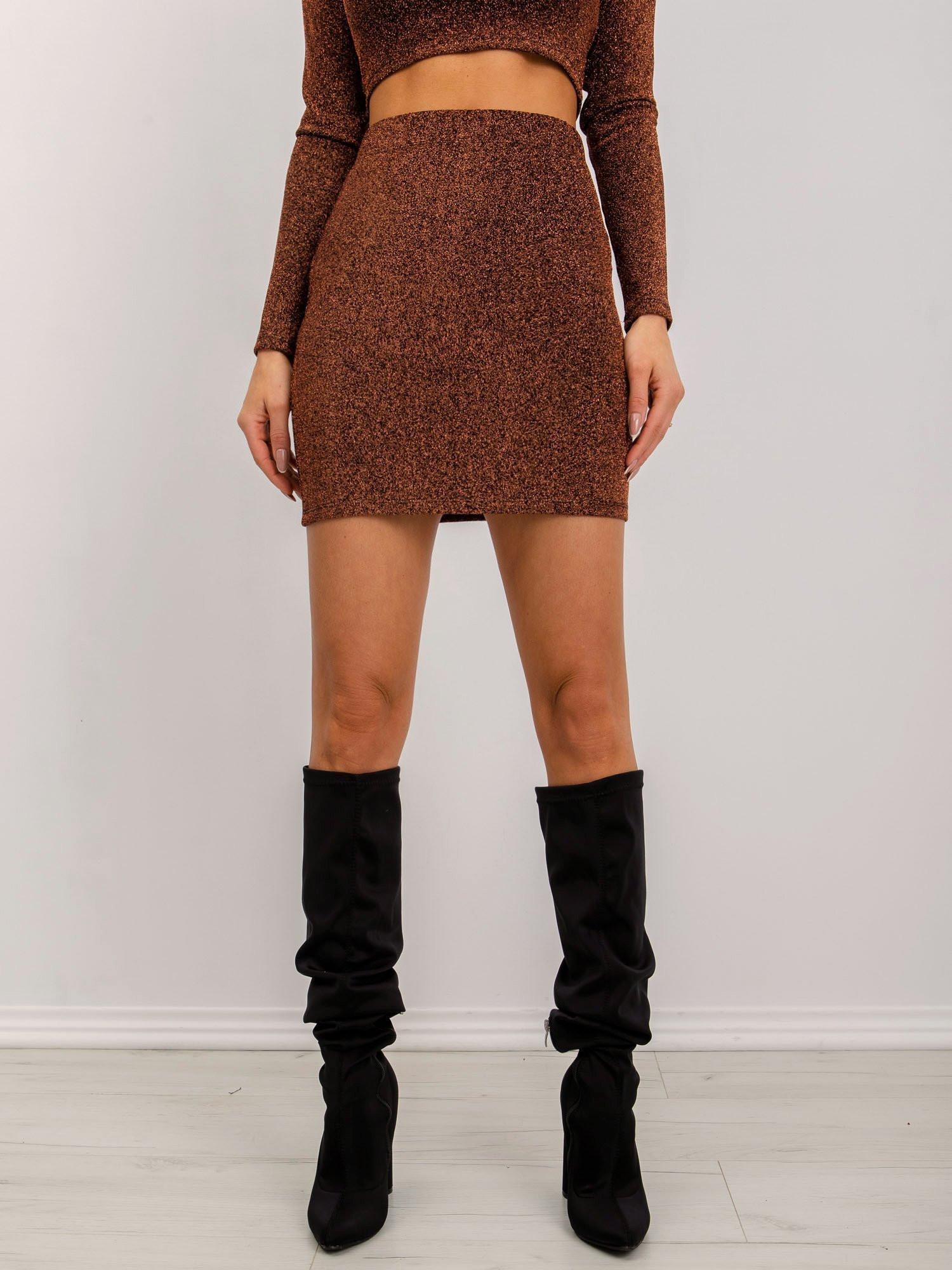 Mini sukňa s lesklým medeným vláknom BSL XS