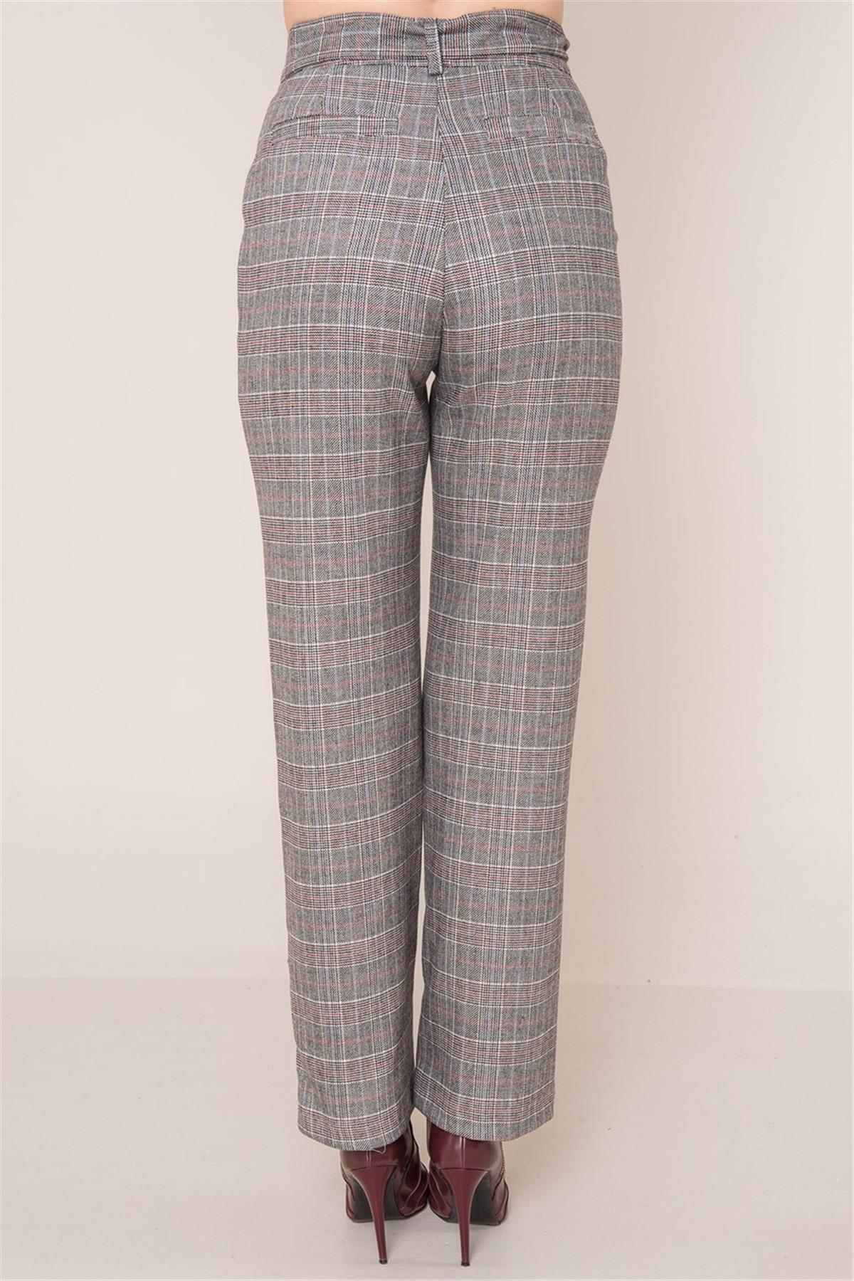 Dámske šedé kárované nohavice BSL S