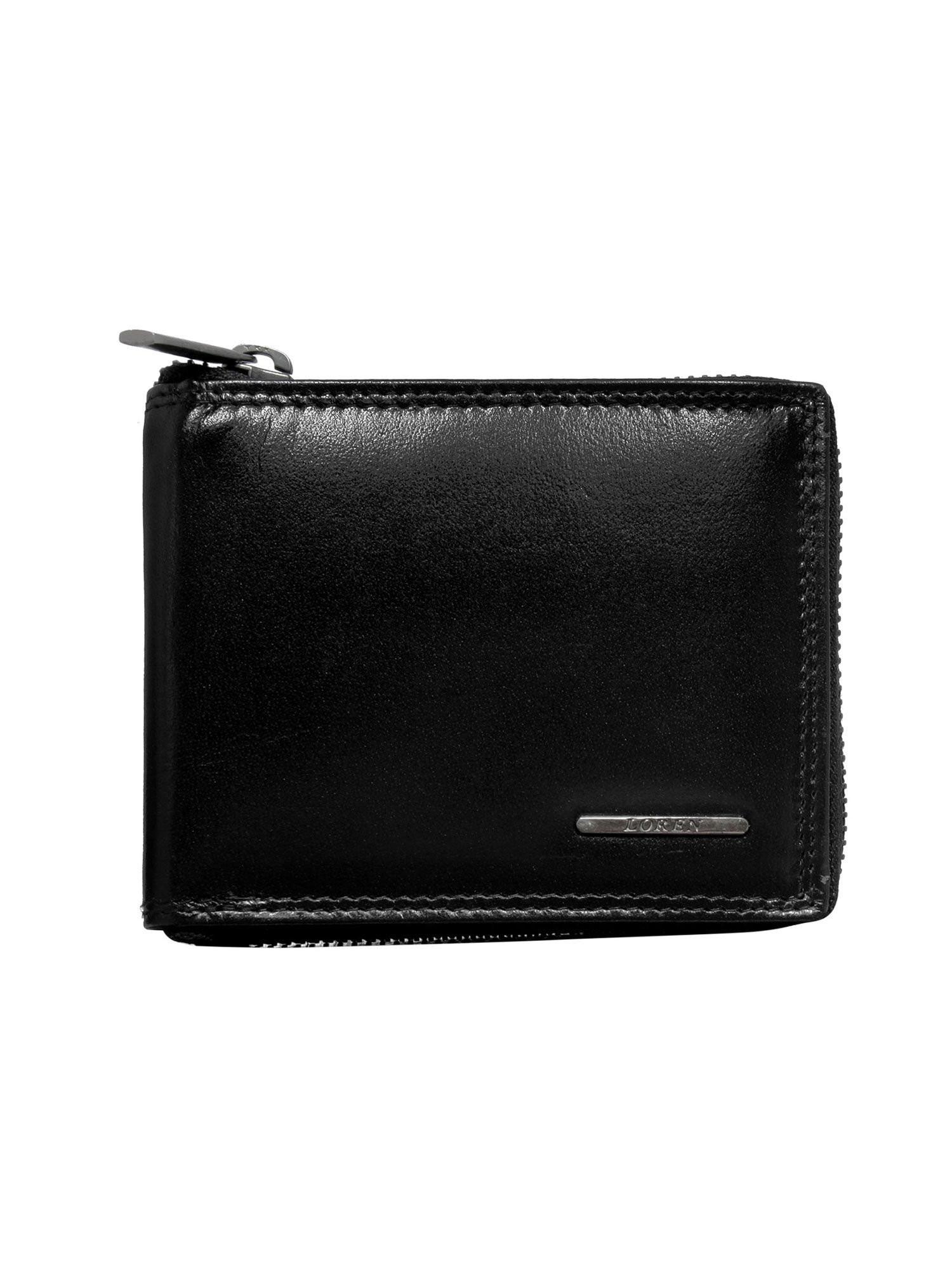 Malá pánska kožená peňaženka na zips, čierna univerzální