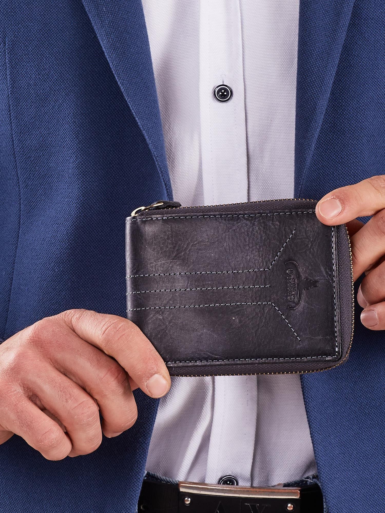 Pánska peňaženka na zips, tmavo modrá jedna velikost