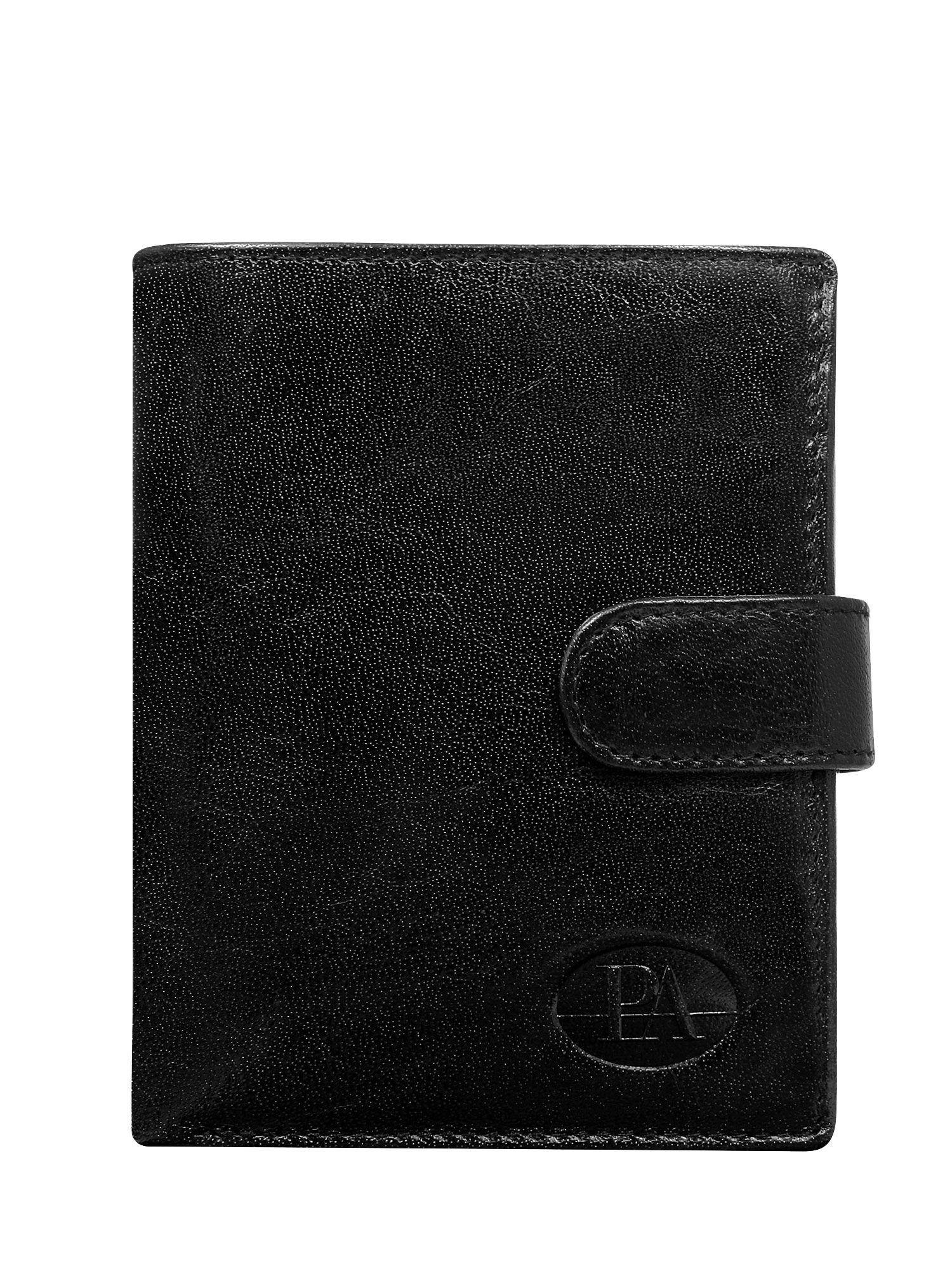 Pánska čierna kožená peňaženka so zapínaním na patent one size