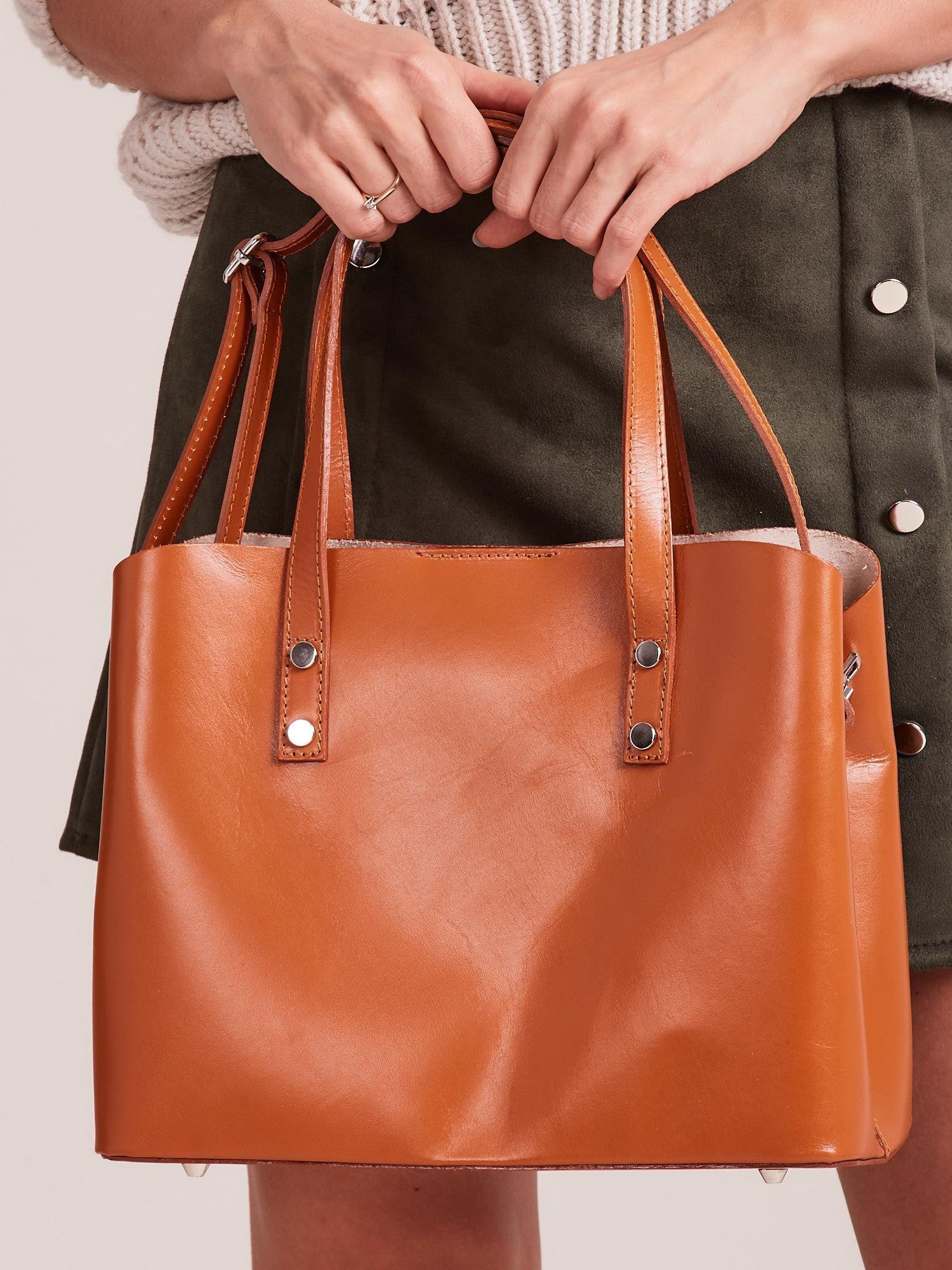 Velbloudí elegantní kožená kabelka ONE SIZE