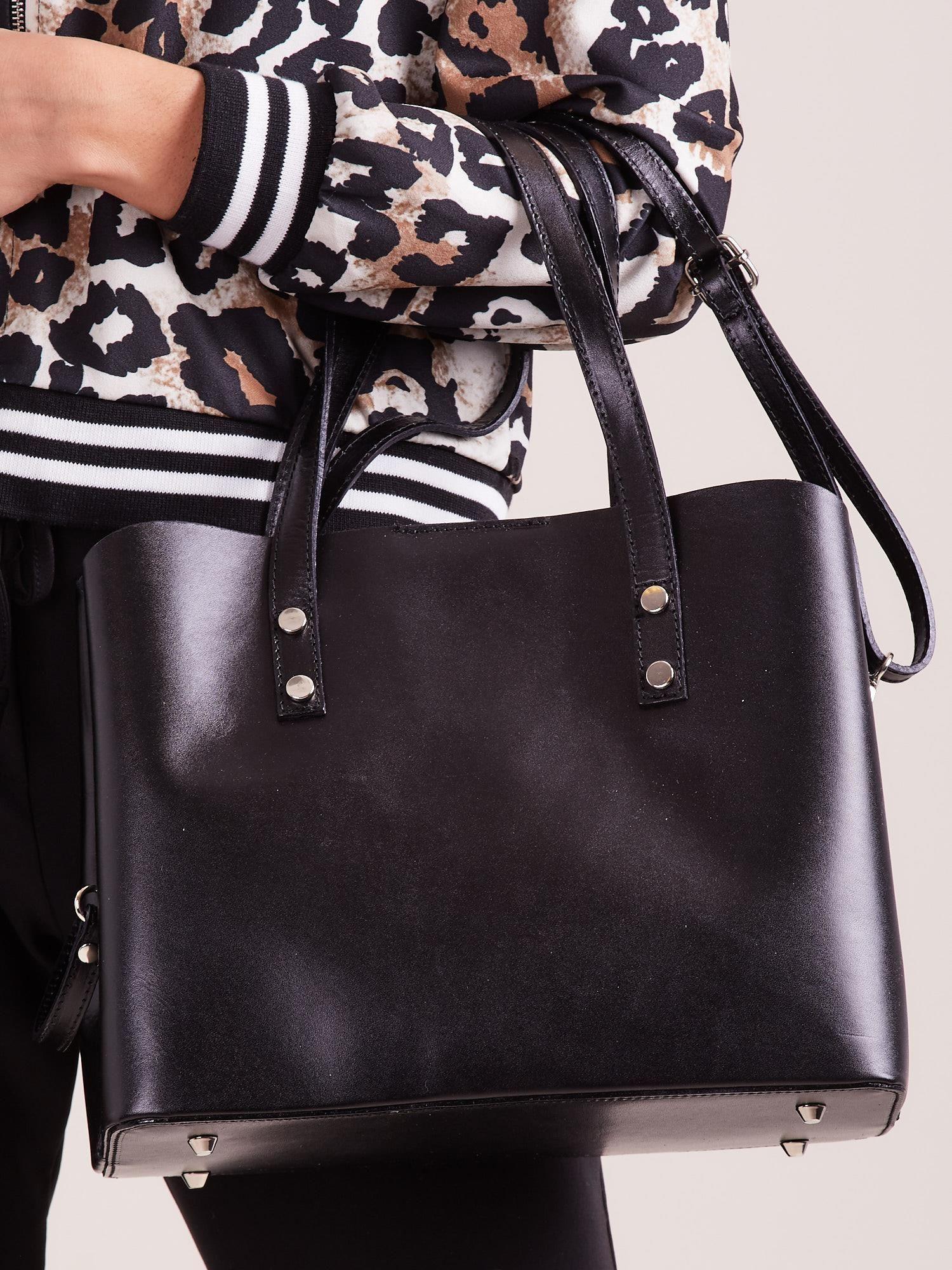 Černá elegantní kožená kabelka ONE SIZE