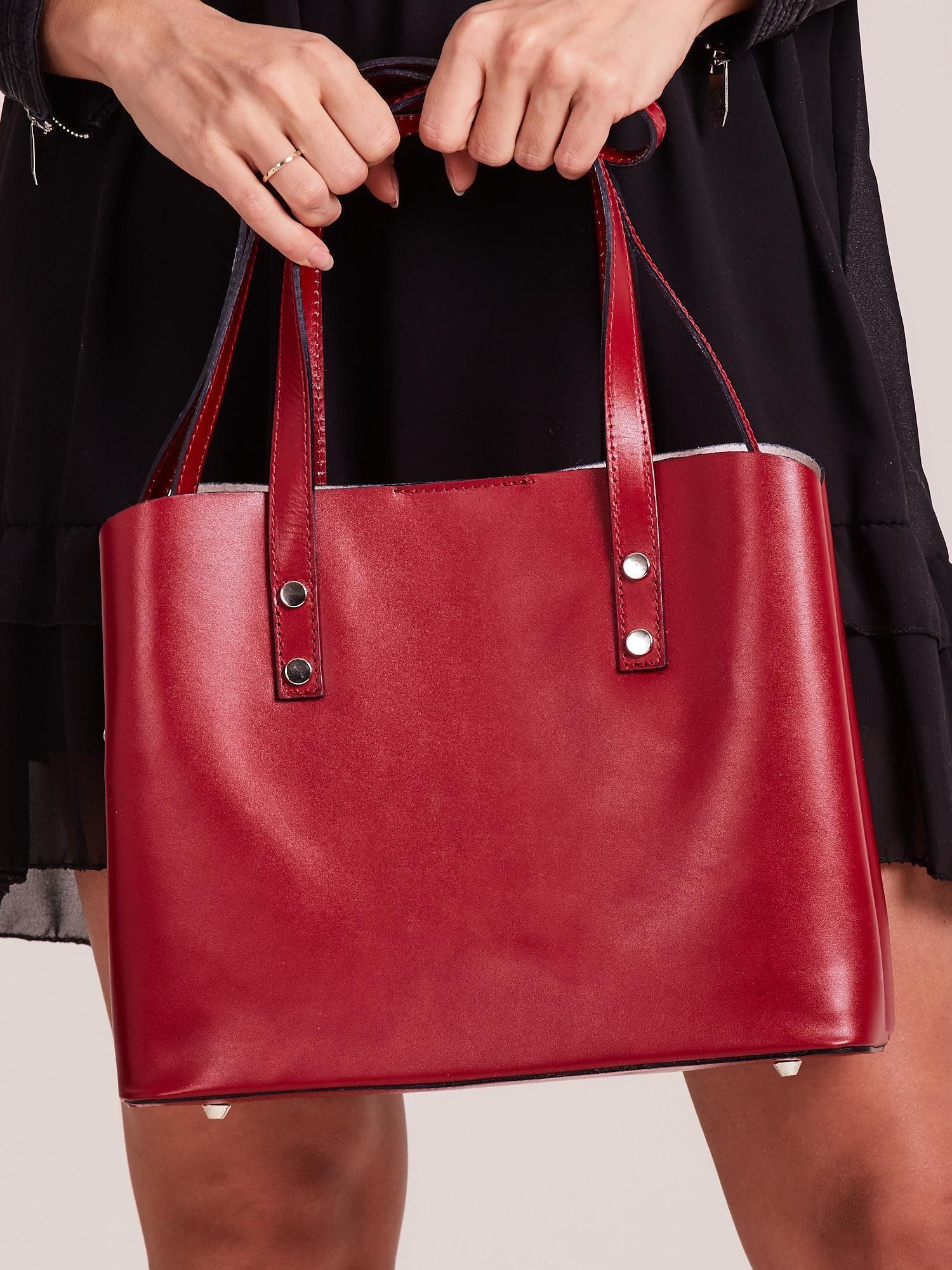 Červená elegantní kožená kabelka ONE SIZE