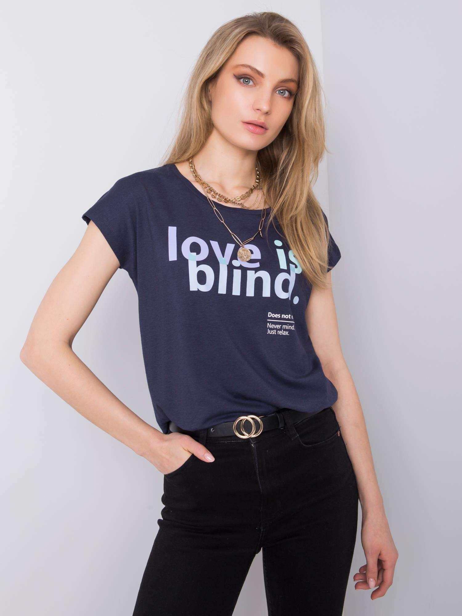 Levně STITCH & SOUL Tmavě modré tričko s potiskem XS