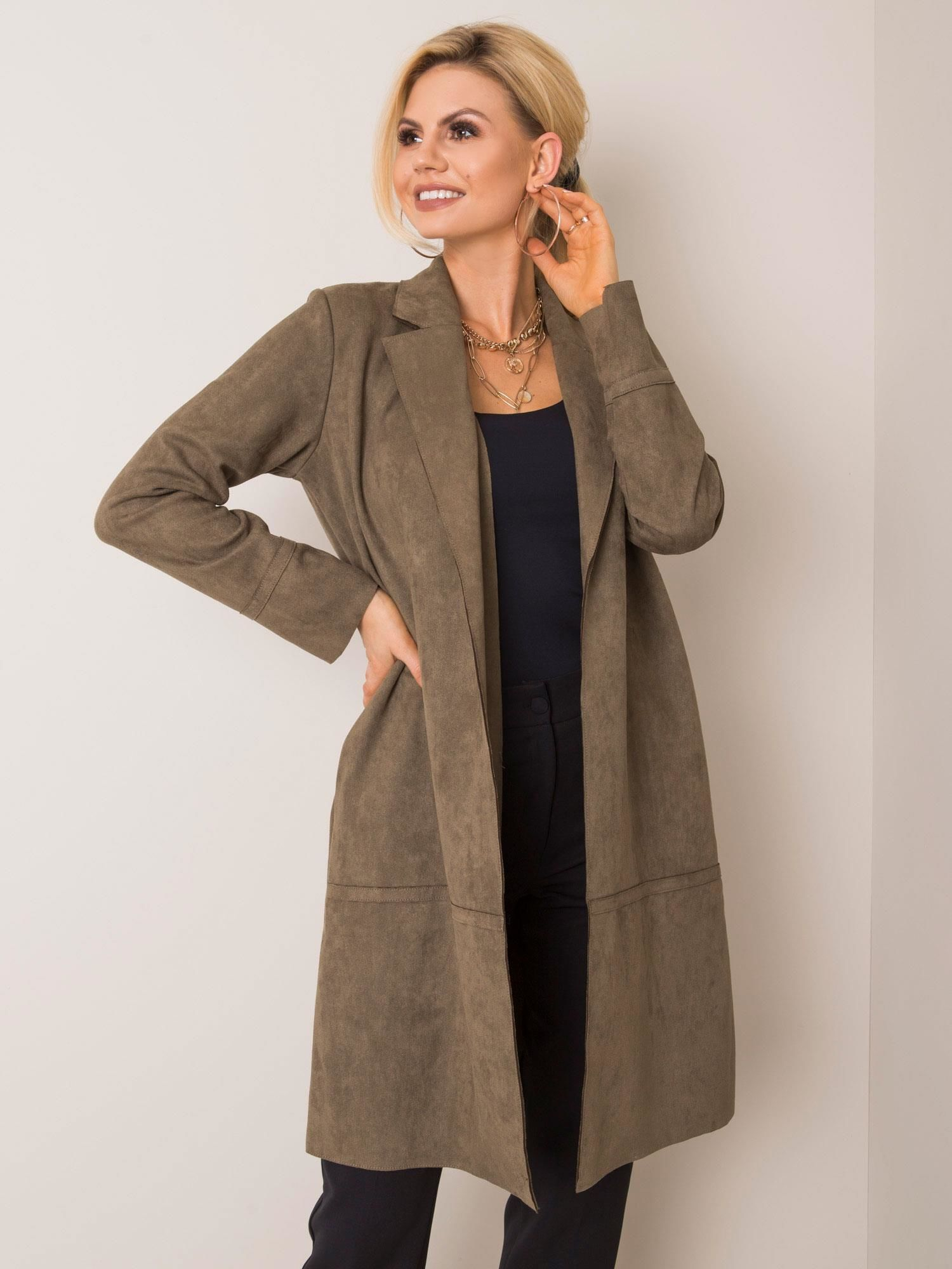 Khaki ekologický semišový kabát STITCH & SOUL M