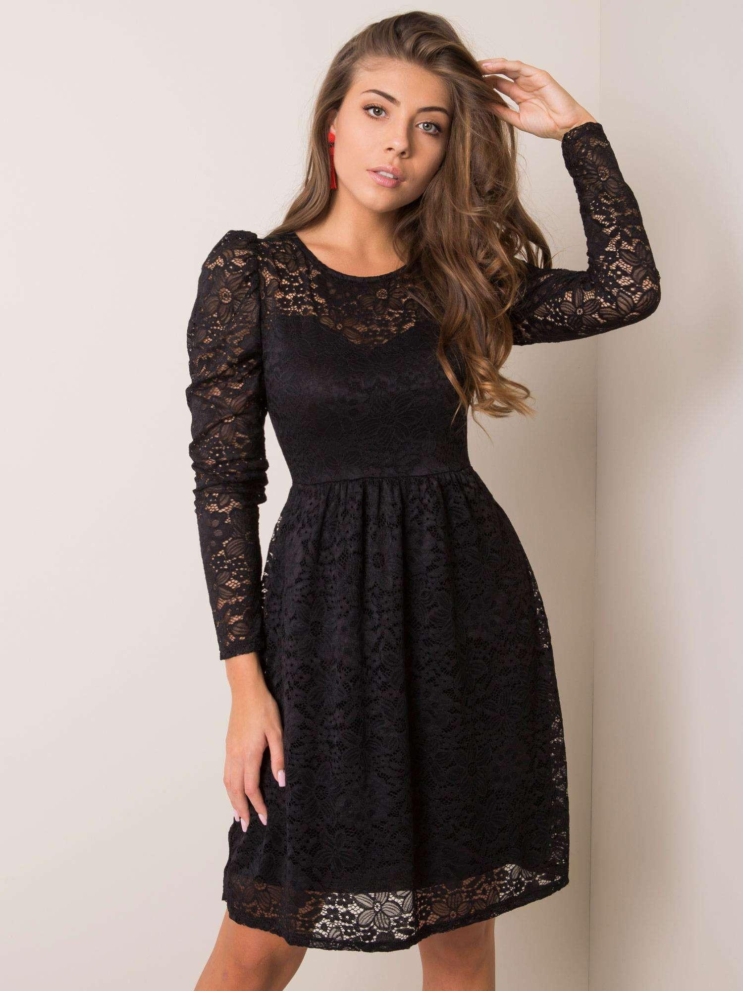 Čierne čipkované šaty Sublevel M / L